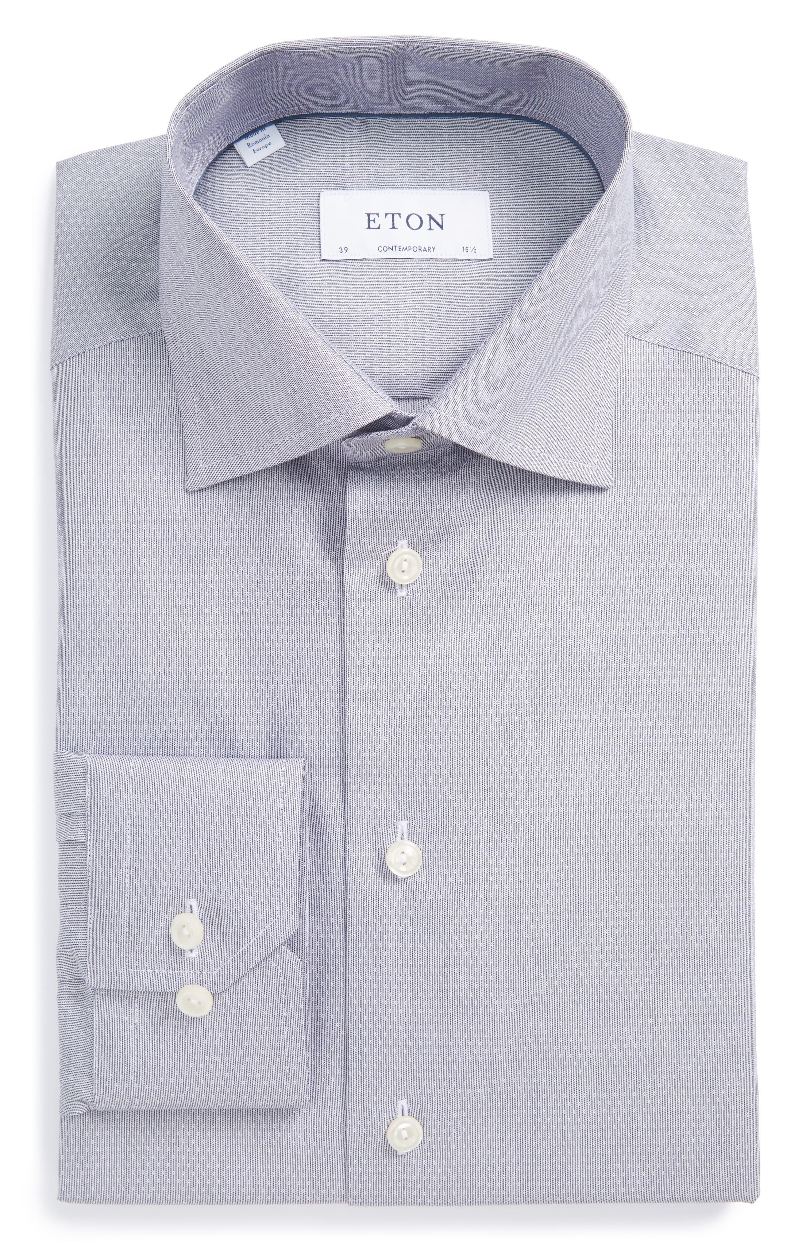 Eton Contemporary Fit Dot Dress Shirt