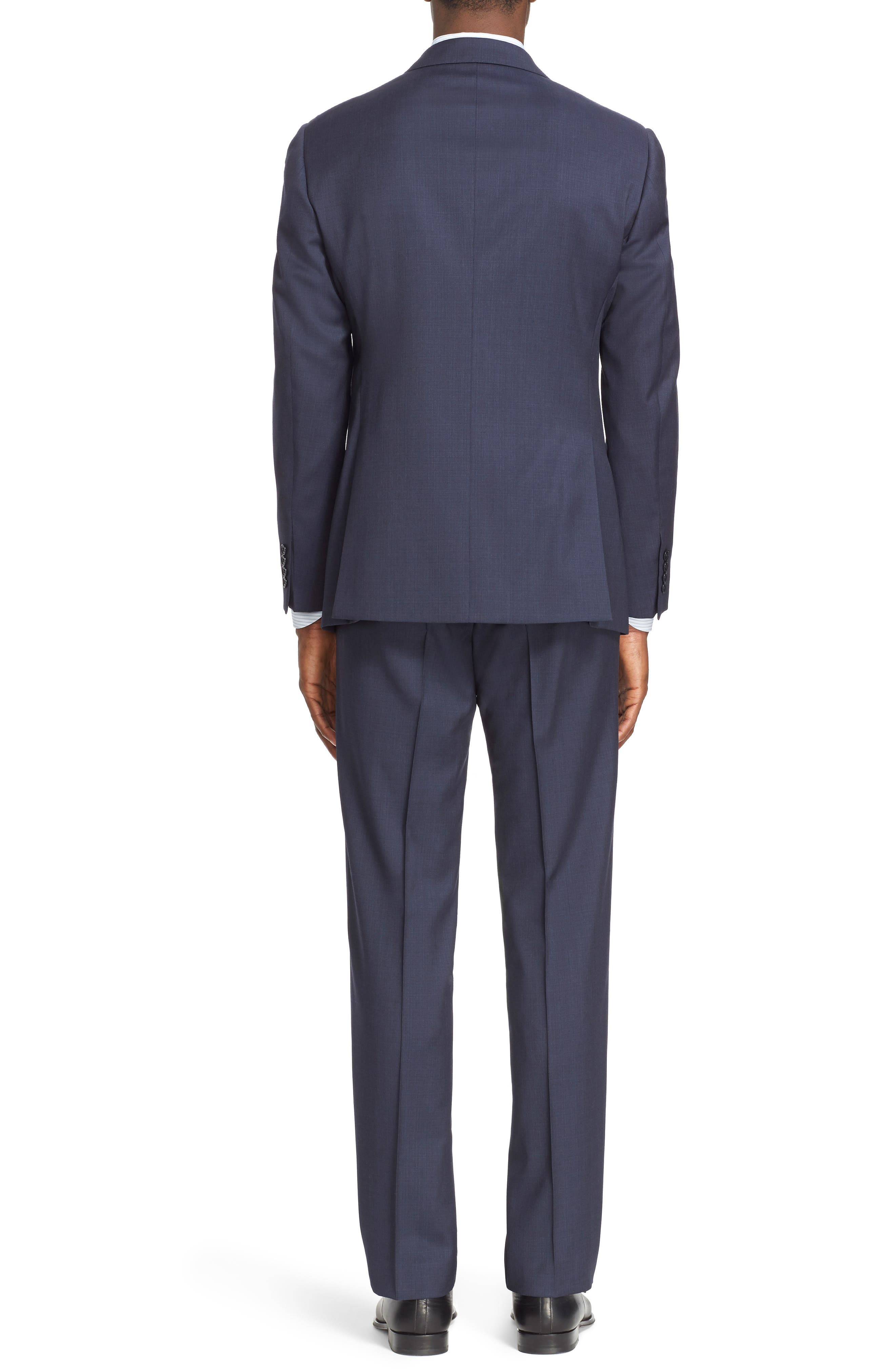 Trim Fit Solid Wool Suit,                             Alternate thumbnail 2, color,                             Navy