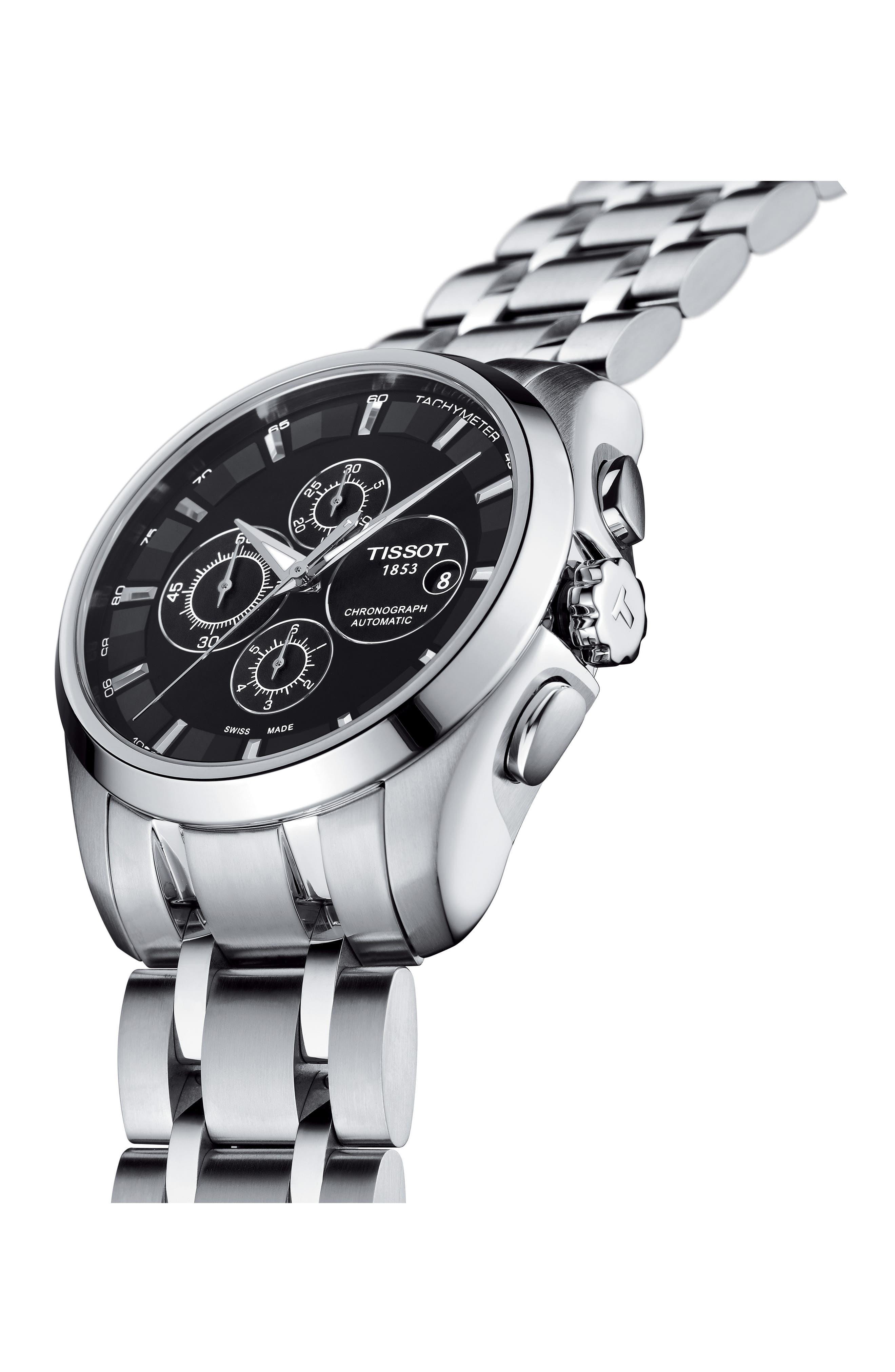 Couturier Automatic Chronograph Bracelet Watch, 43mm,                             Alternate thumbnail 3, color,                             Silver/ Black/ Silver