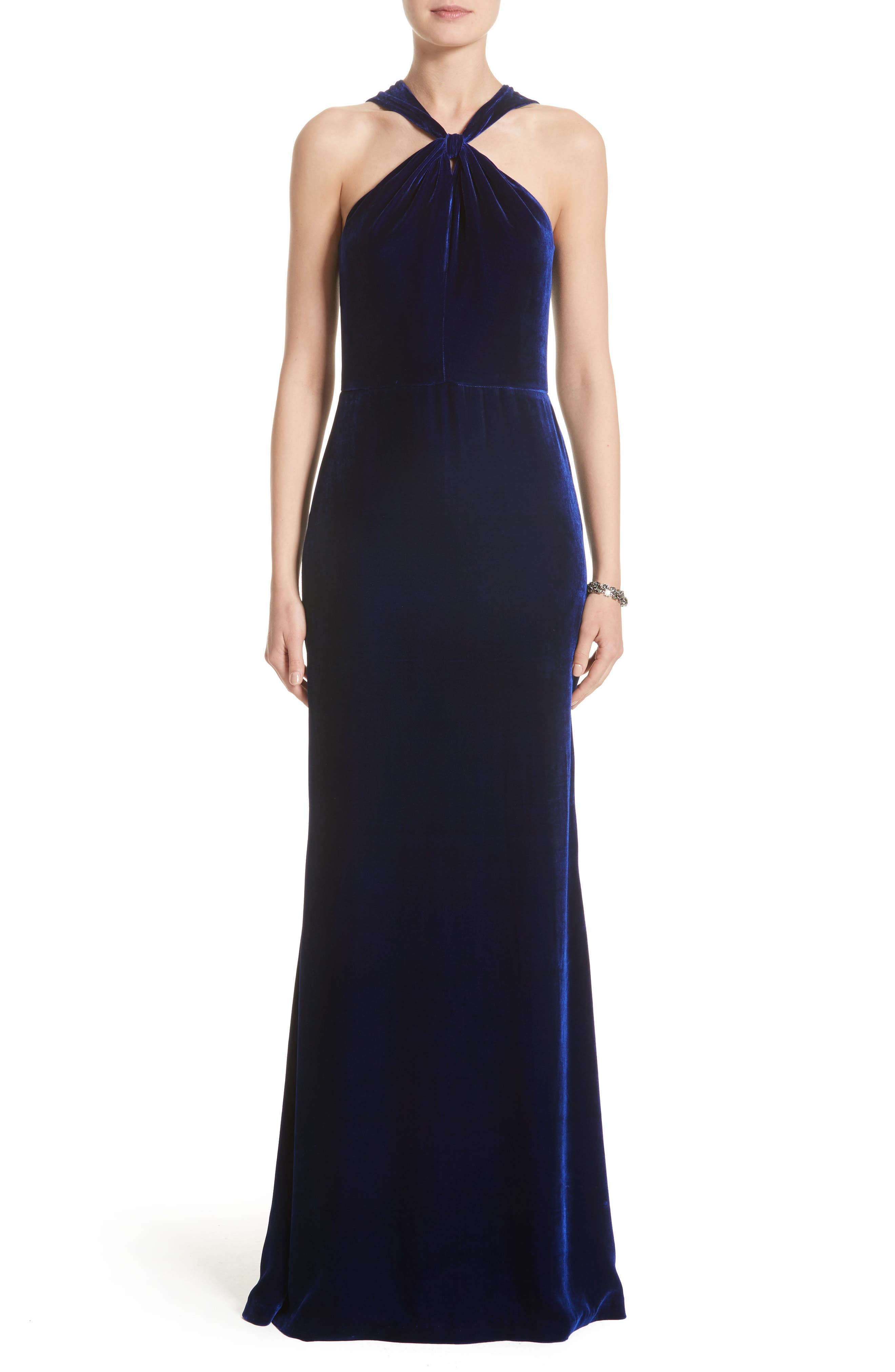 Draped Front Velvet Gown,                             Main thumbnail 1, color,                             Lazuli