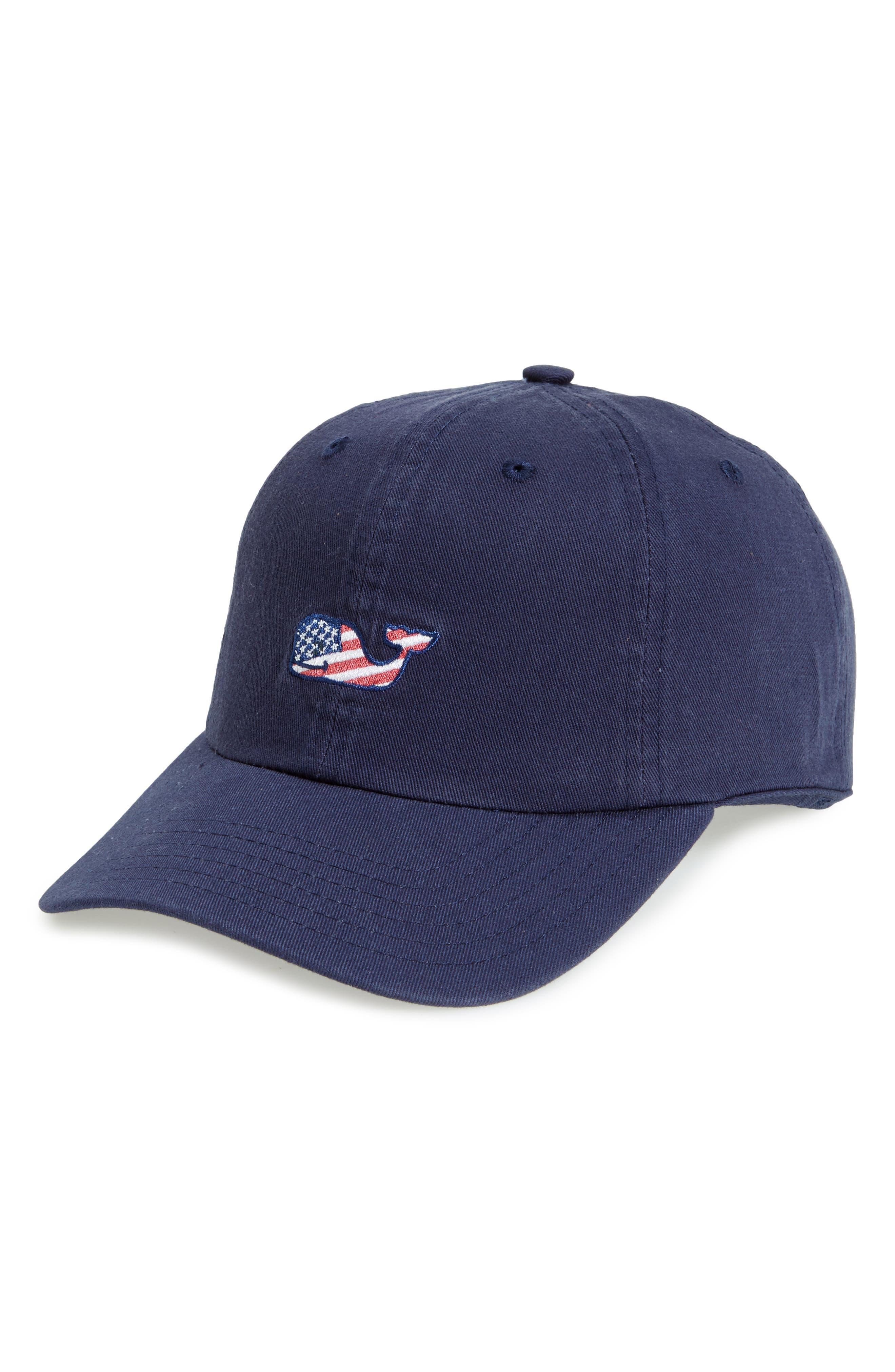 VINEYARD VINES Flag Whale Logo Baseball Cap