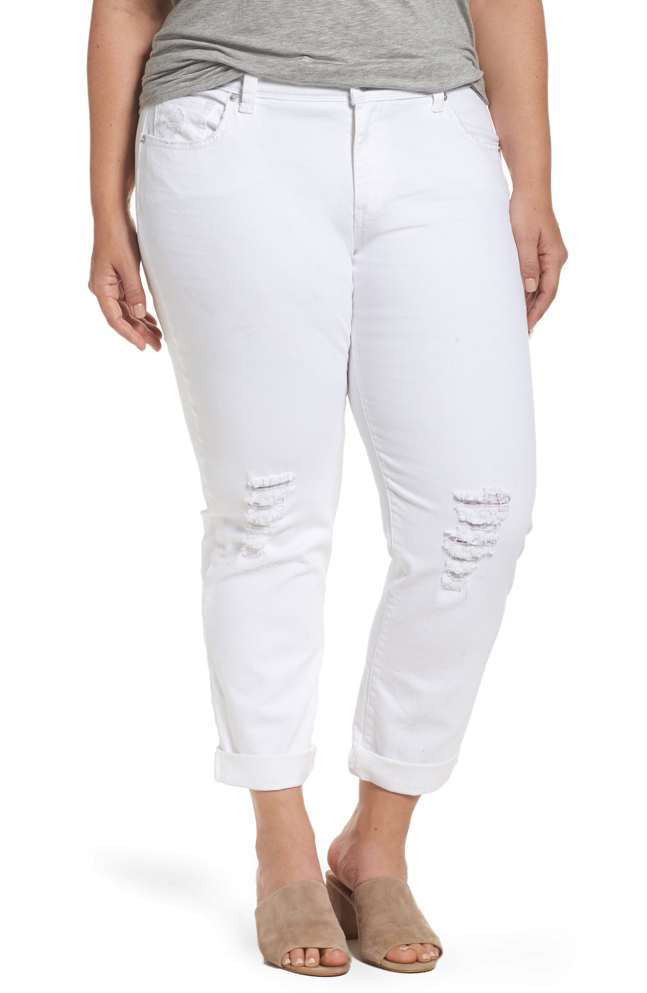 Main Image - Lucky Brand Reese Ripped Boyfriend Jeans (Rockville) (Plus Size)