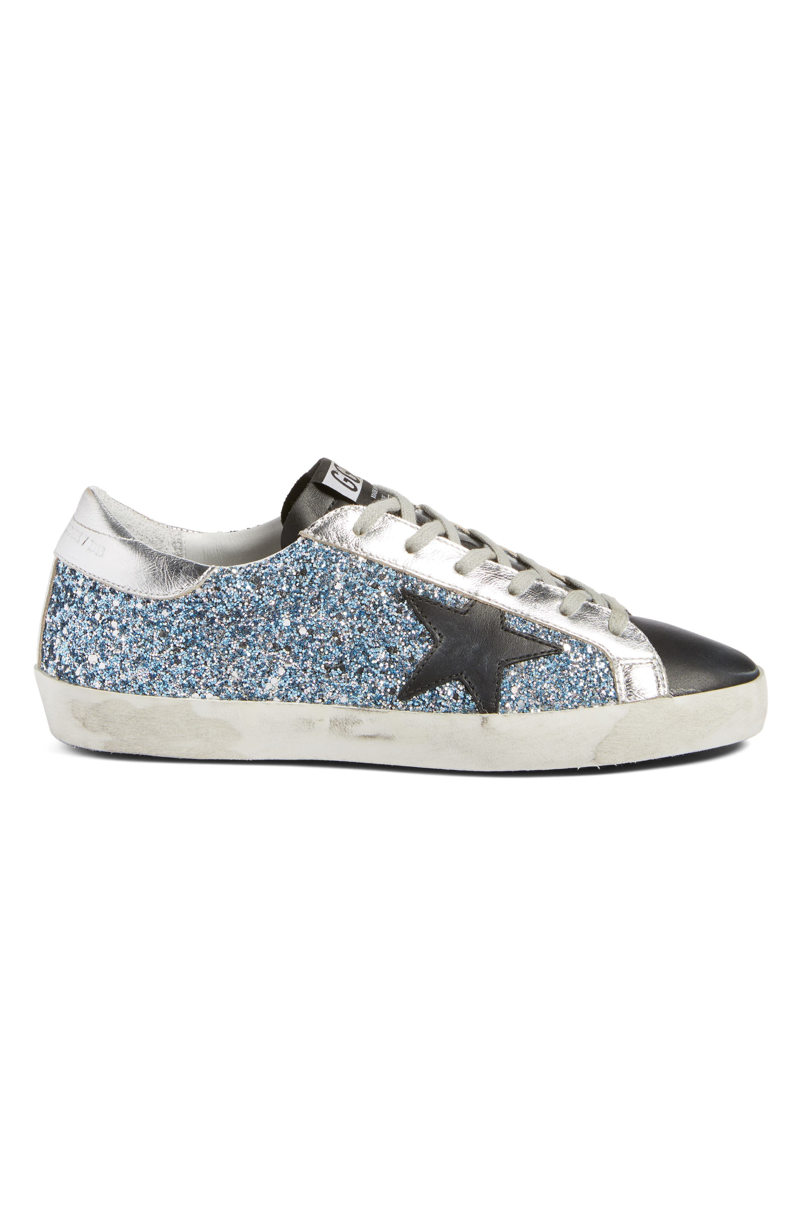Superstar Glitter Sneaker,                             Alternate thumbnail 3, color,                             Blue Glitter