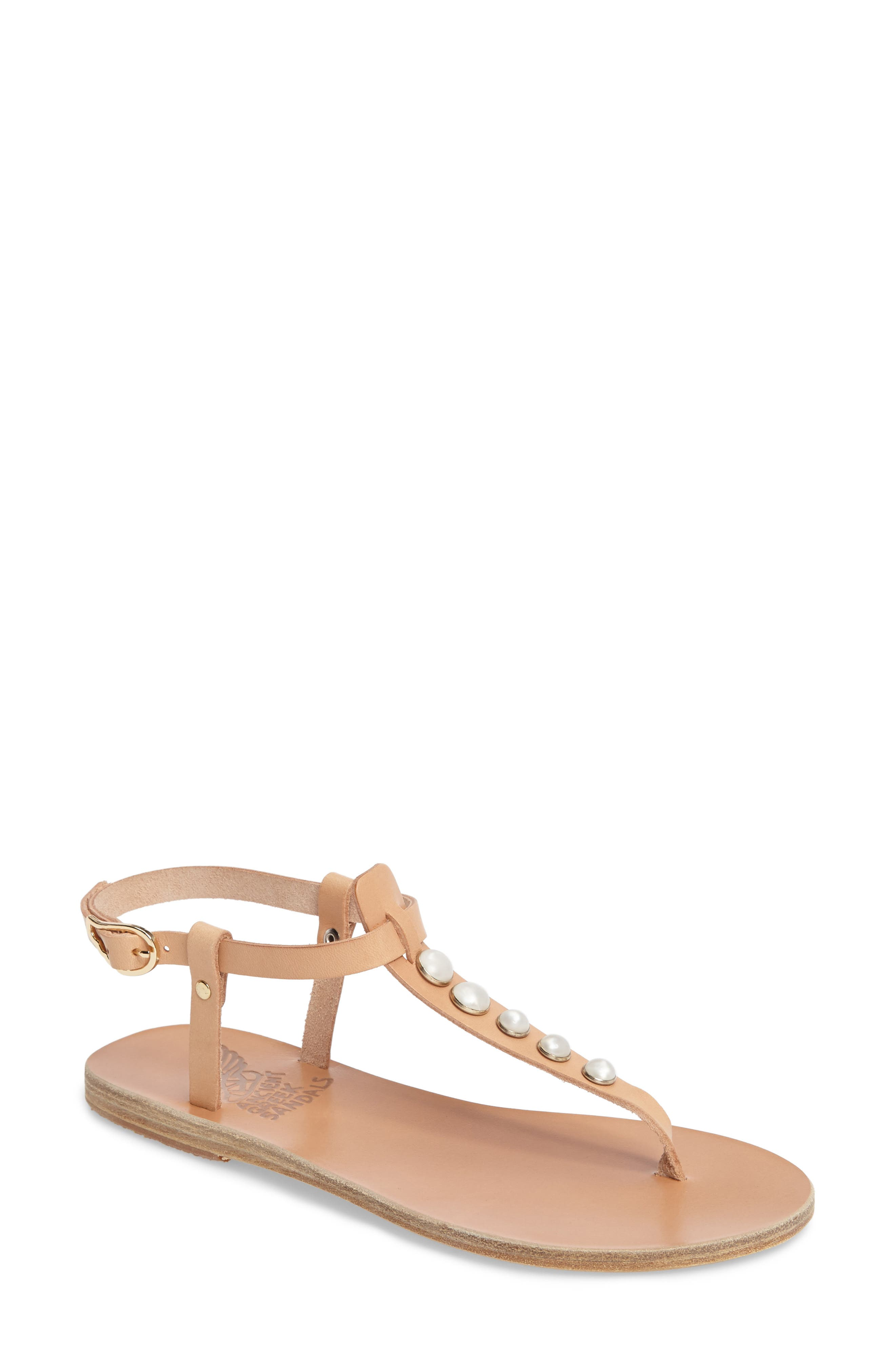 Lito Imitation Pearl Embellished T-Strap Sandal,                             Main thumbnail 1, color,                             Natural Vachetta