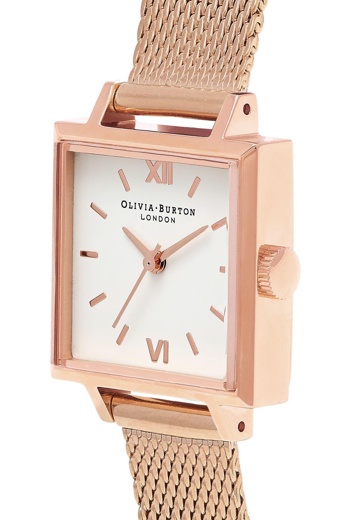 Midi Square Mesh Strap Watch, 22.5mm,                             Alternate thumbnail 3, color,                             Rose Gold/ White/ Rose Gold