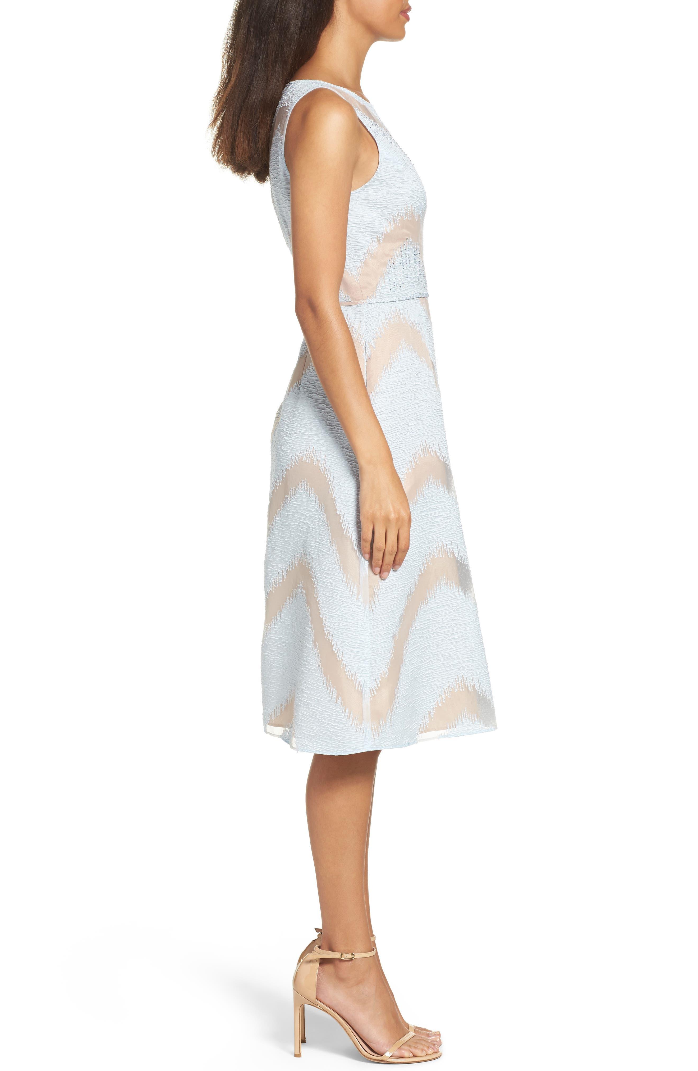 Jacquard Midi Dress,                             Alternate thumbnail 3, color,                             Ice