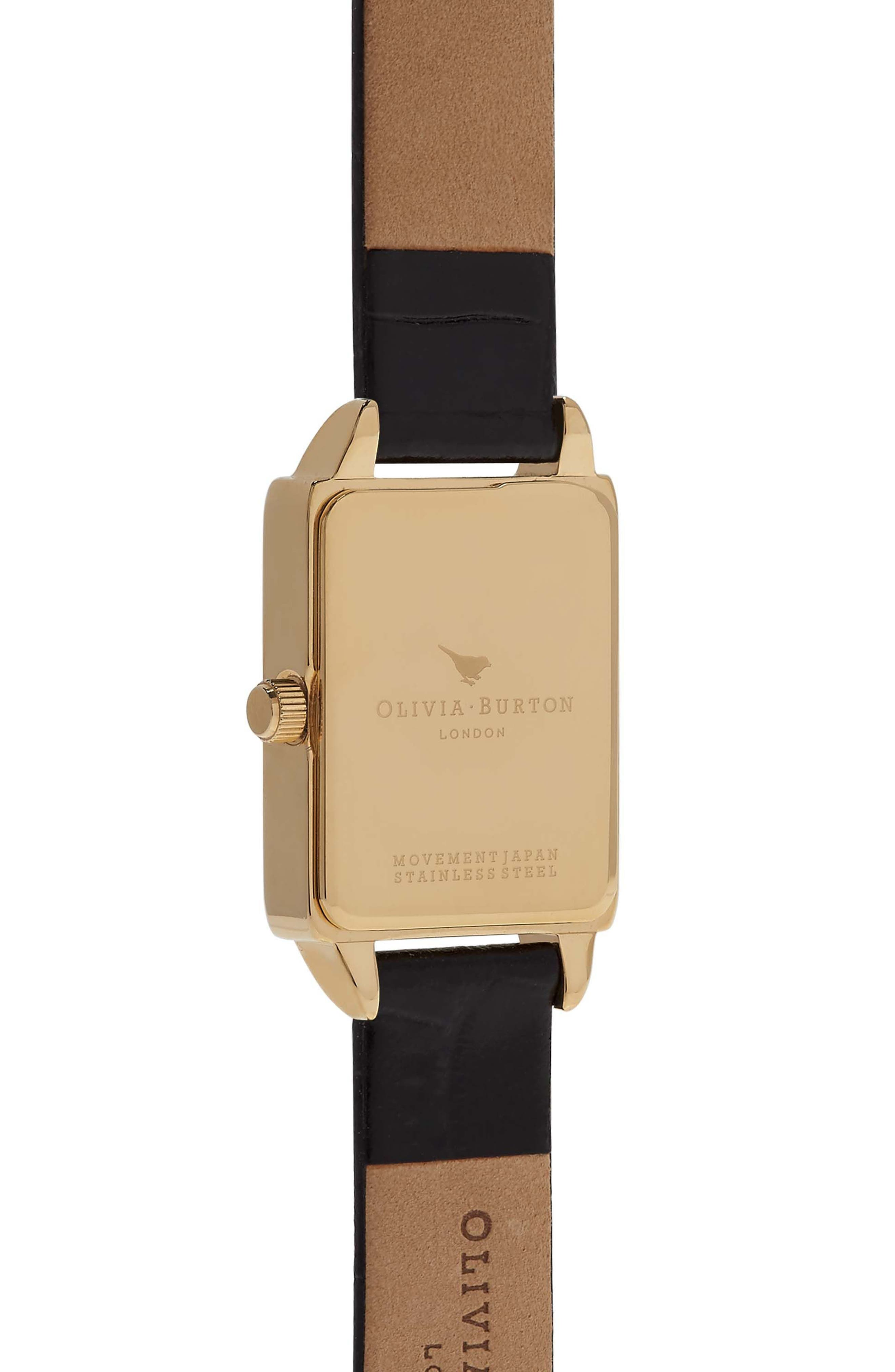 Alternate Image 2  - Olivia Burton Woodland Tank Leather Strap Watch, 30mm