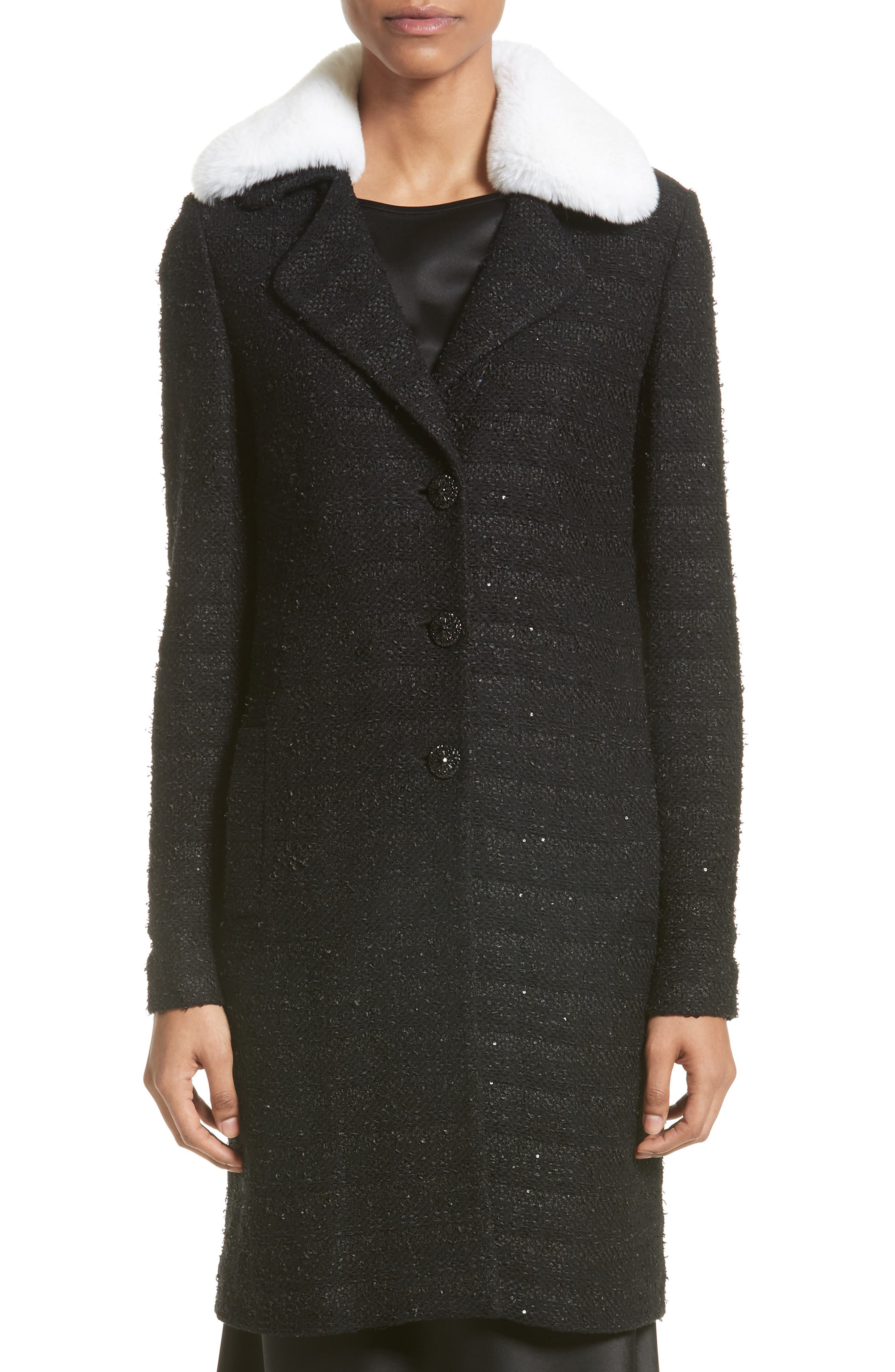 Sequin Knit Topper with Detachable Genuine Rabbit Fur Collar,                         Main,                         color, Caviar/ Bianco