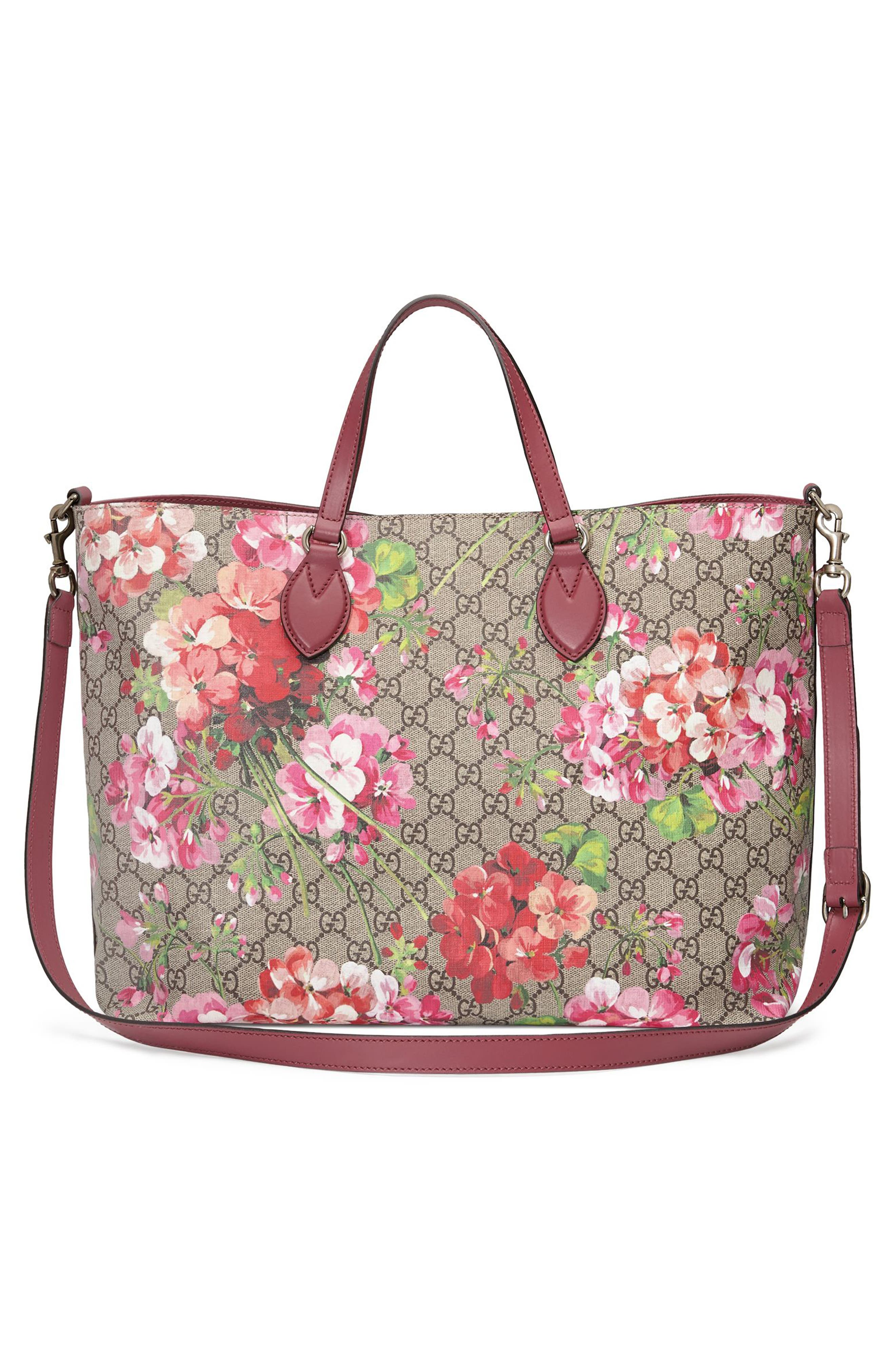 Soft GG Blooms Tote,                             Alternate thumbnail 2, color,                             Beige Ebony/Dry Rose