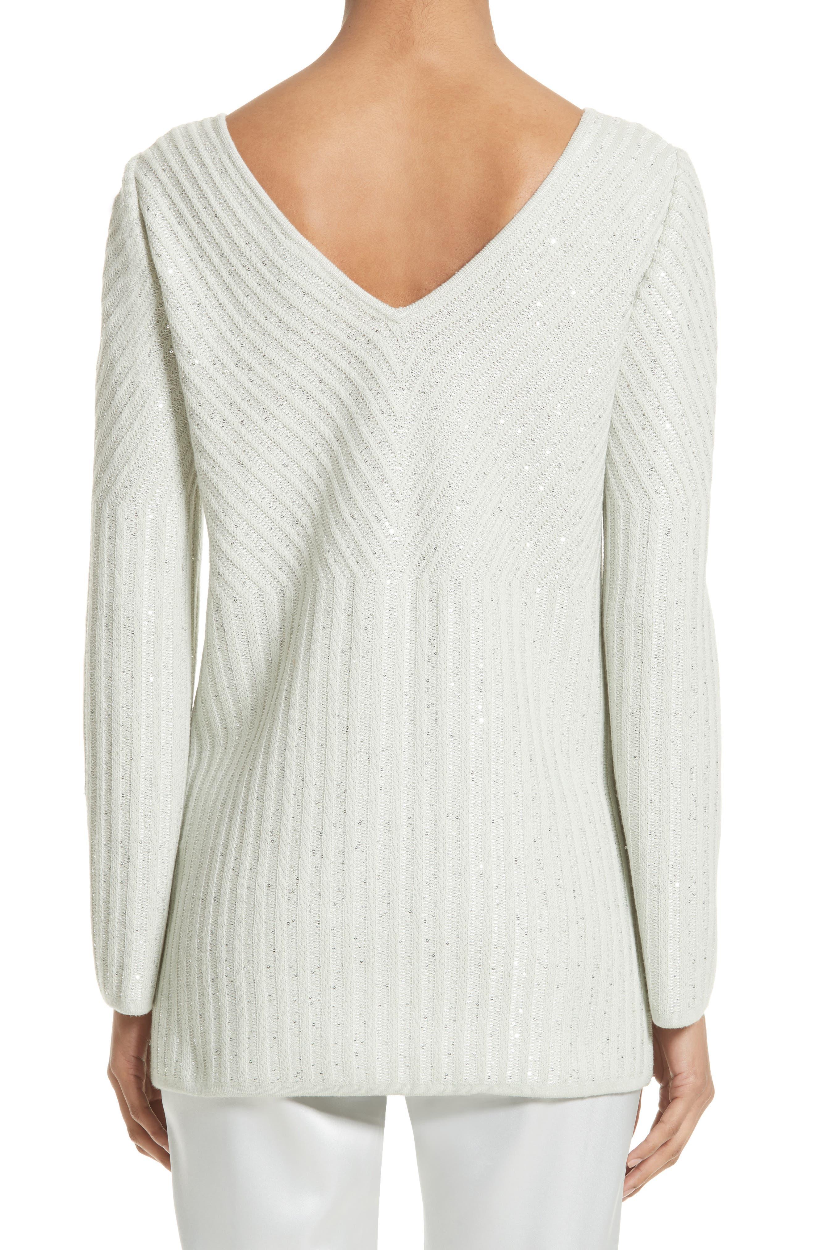 Alternate Image 2  - St. John Collection Sparkle Engineered Rib Sweater