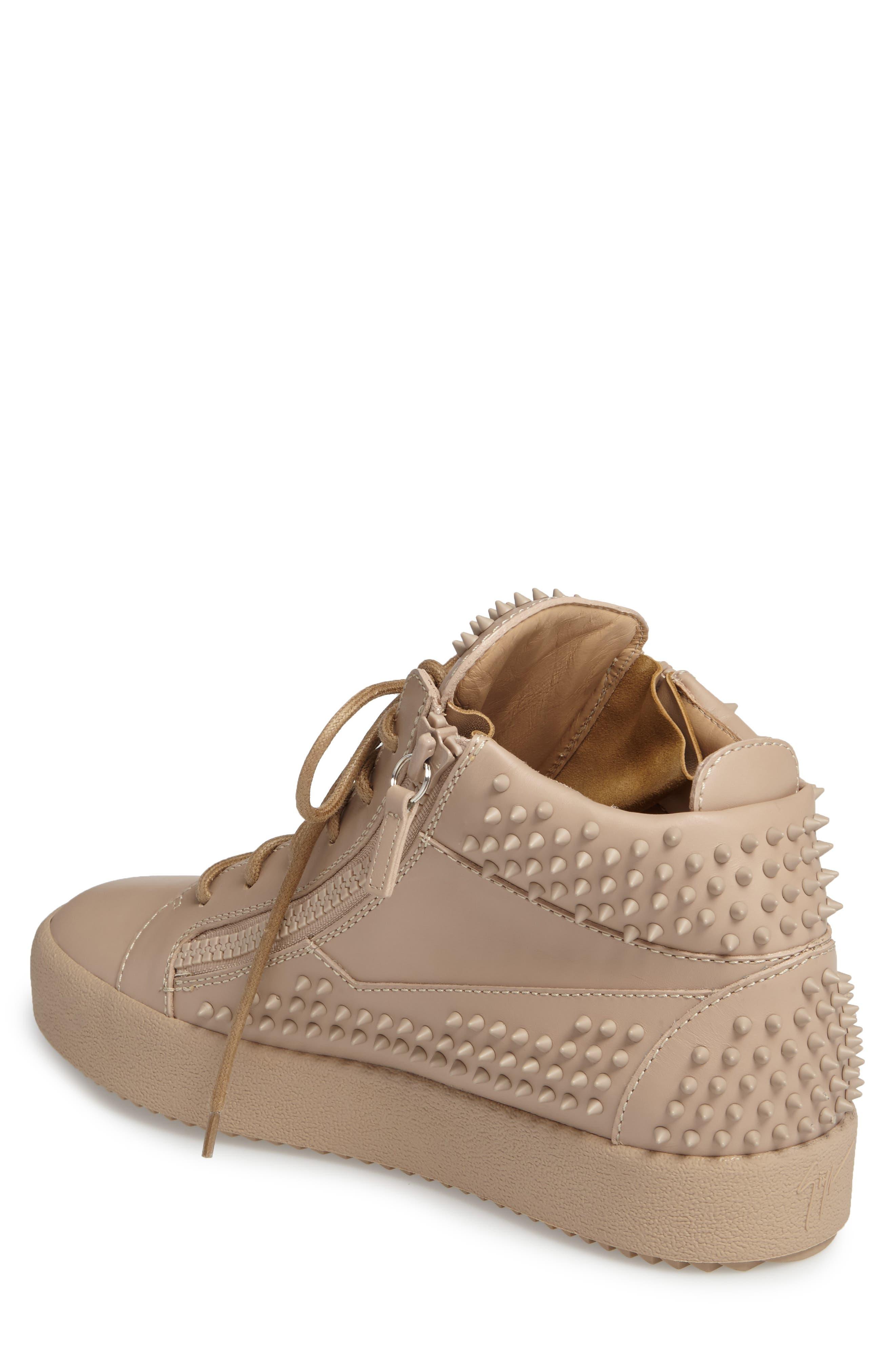 Studded Mid Top Sneaker,                             Alternate thumbnail 2, color,                             Tan/ Birel Sughero