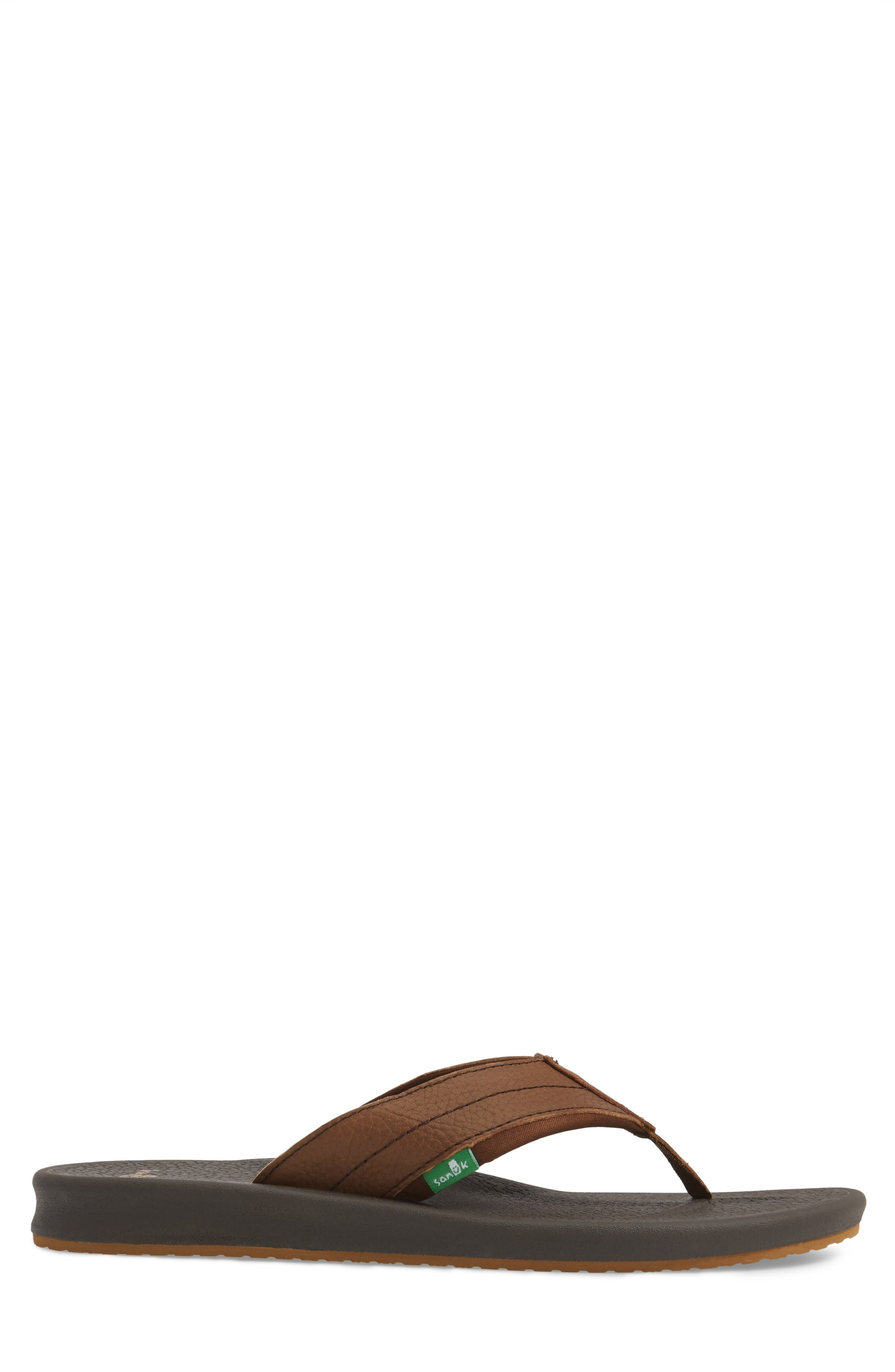 Brumesiter Primo Flip Flop,                             Alternate thumbnail 3, color,                             Brown Leather