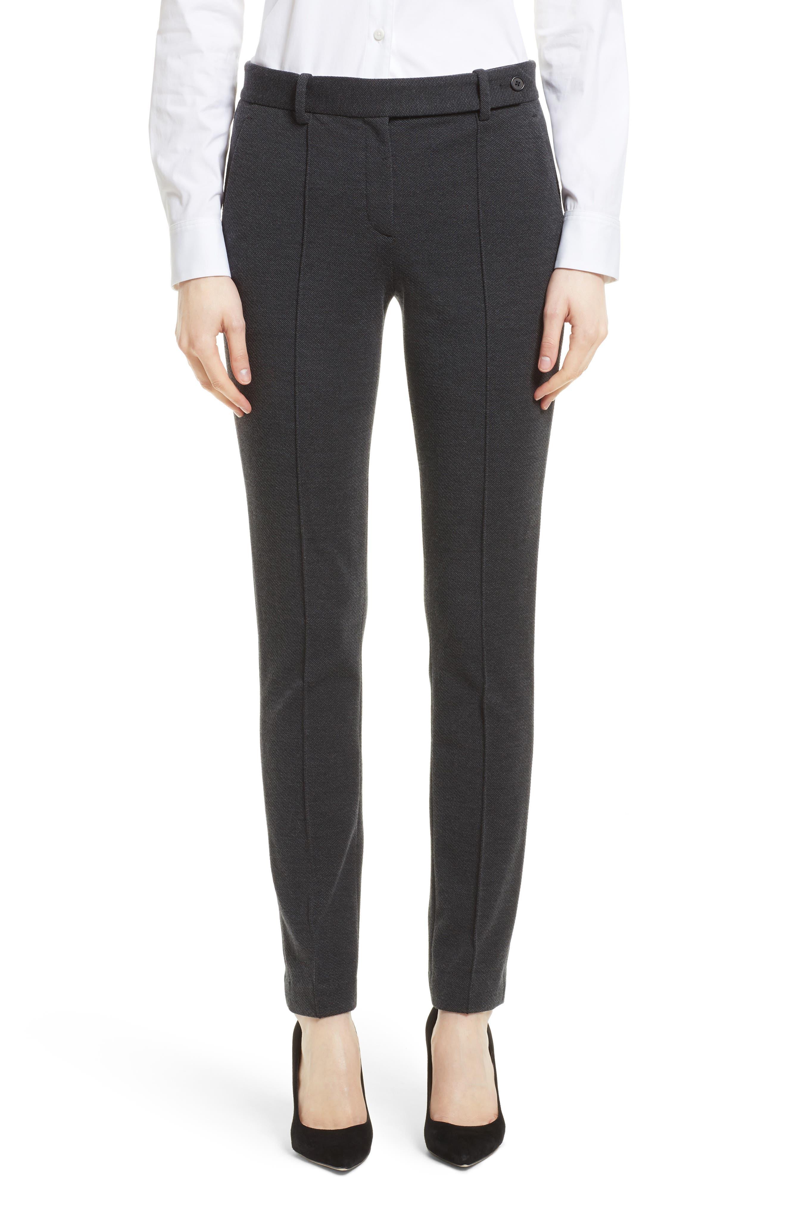 Pintuck Knit Twill Pants,                         Main,                         color, Dark Charcoal