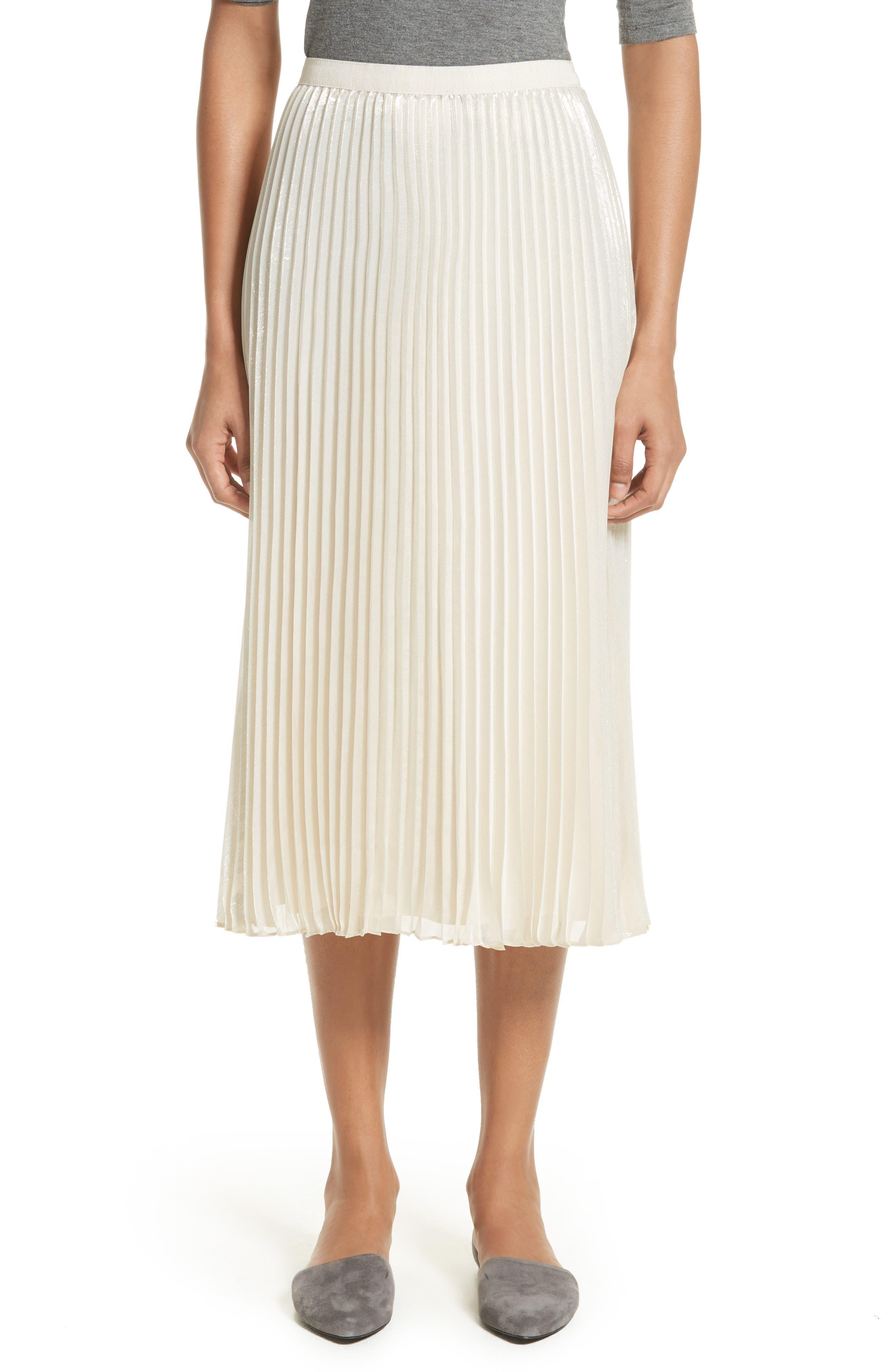 St. John Collection Pleated Metallic Silk Blend Midi Skirt