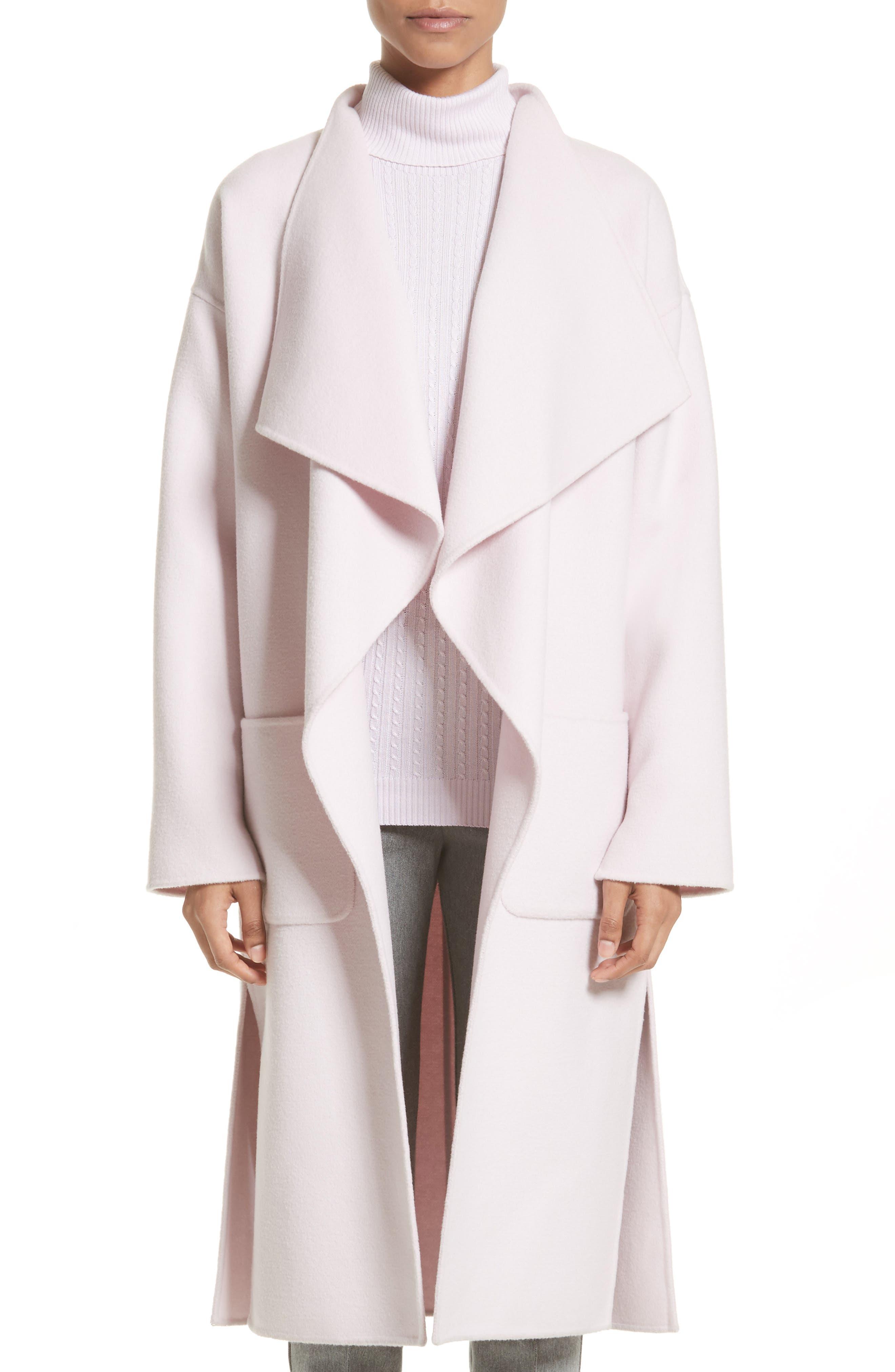 St. John Collection Double Face Wool Blend Drape Coat