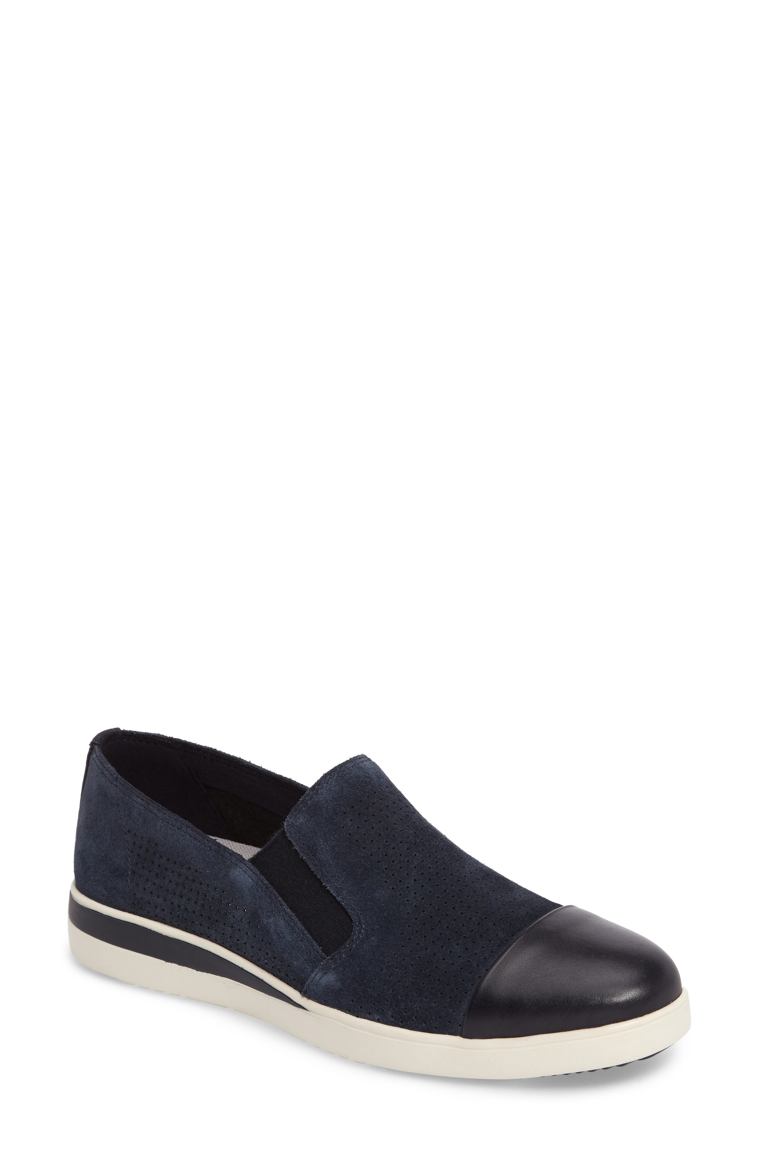 Aviana Cap Toe Slip-On Sneaker,                             Main thumbnail 1, color,                             Lagoon Suede