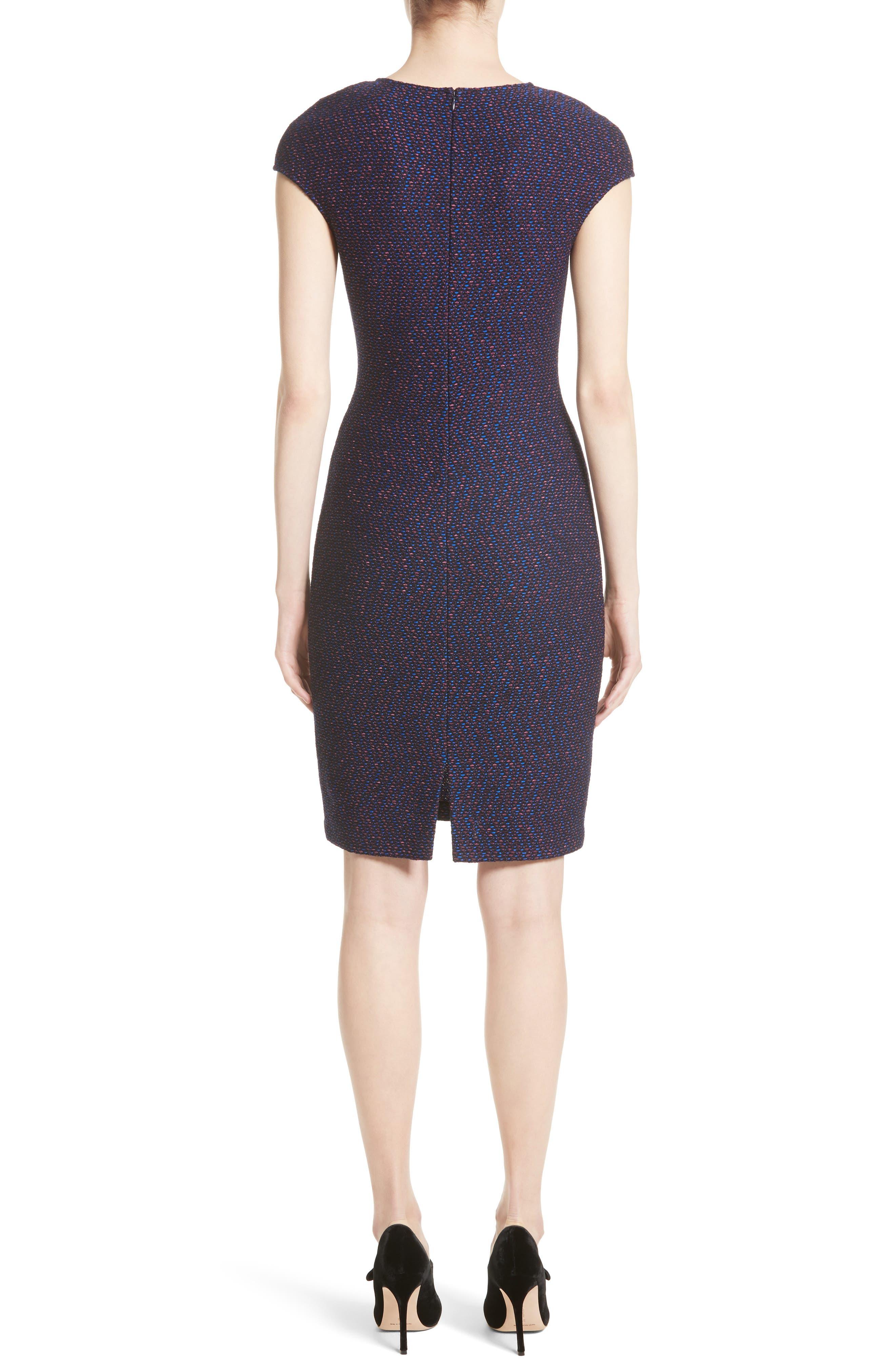 Broken Chevron Knit Sheath Dress,                             Alternate thumbnail 2, color,                             Navy Multi