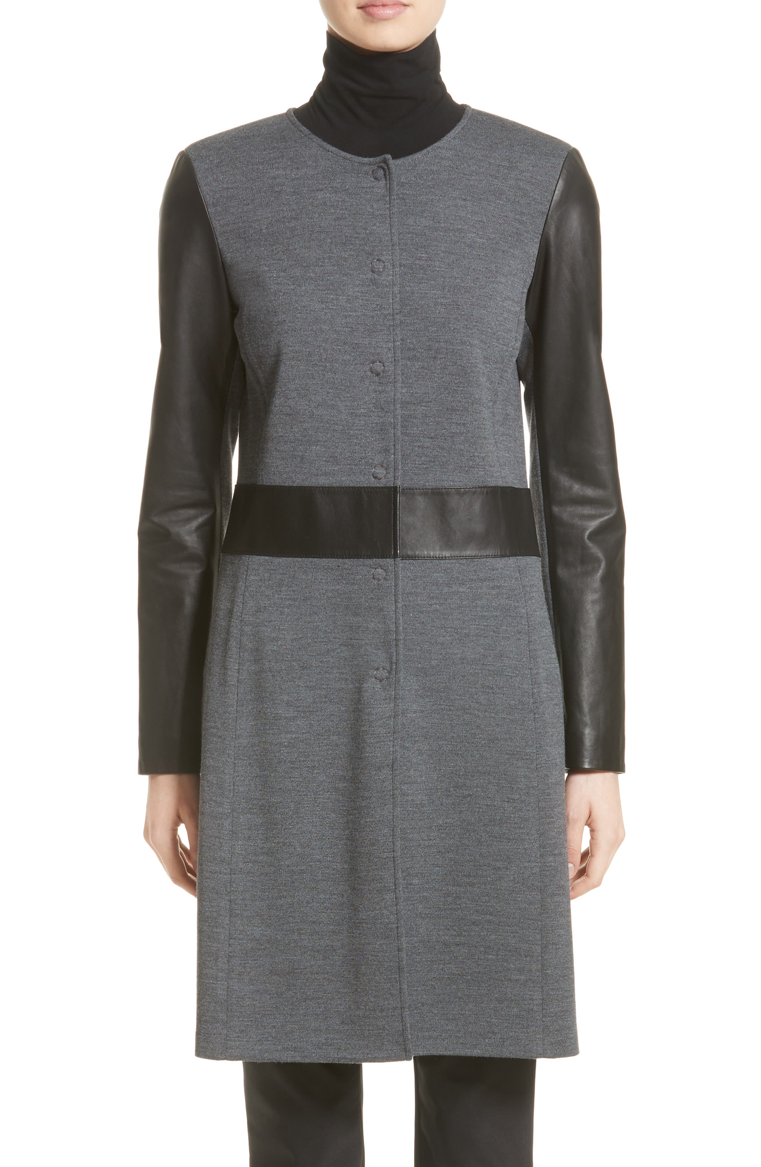 St. John Collection Leather & Milano Knit Topper