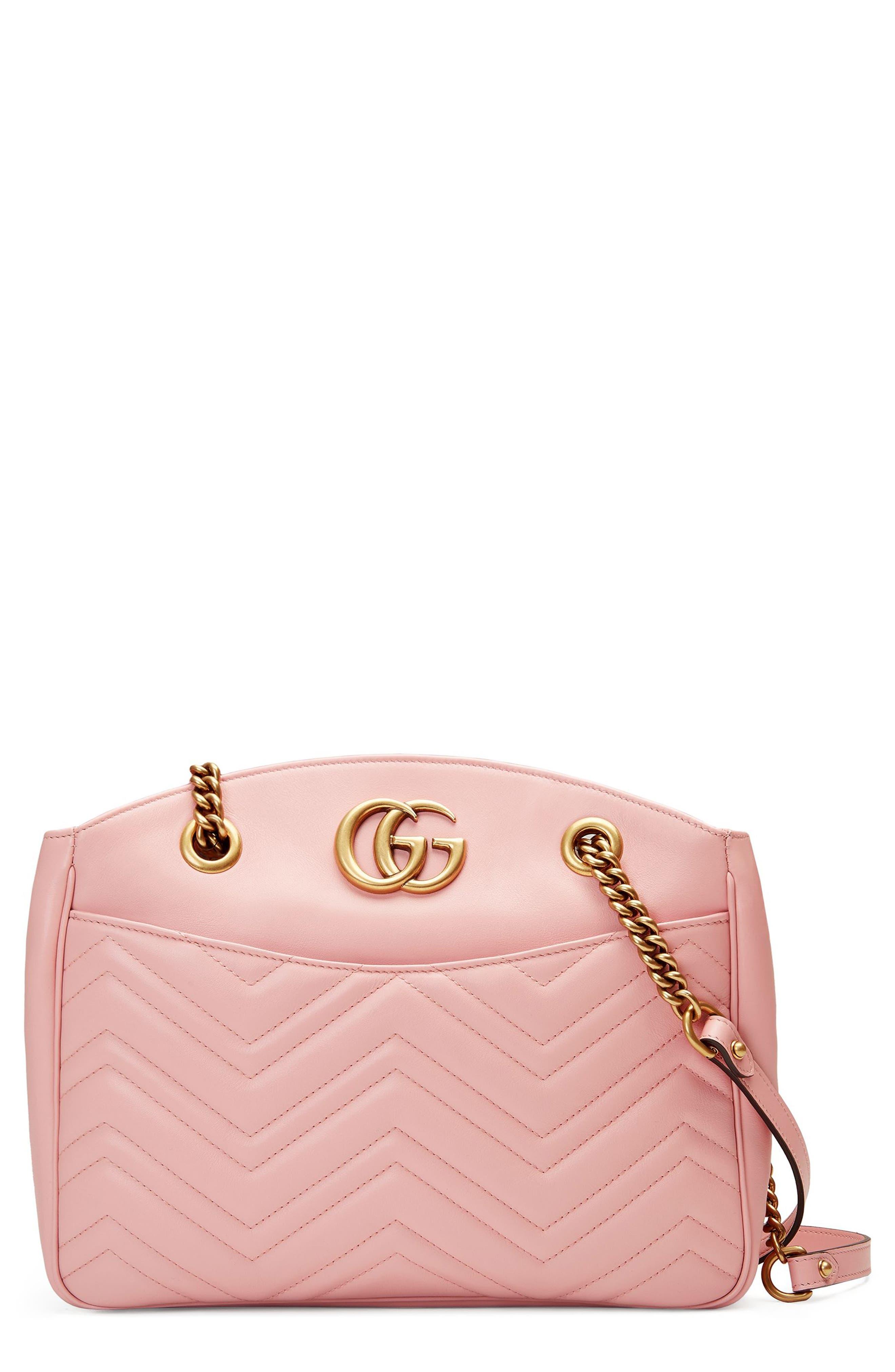GG Marmont Matelassé Leather Shoulder Bag,                             Main thumbnail 1, color,                             Perfect Pink