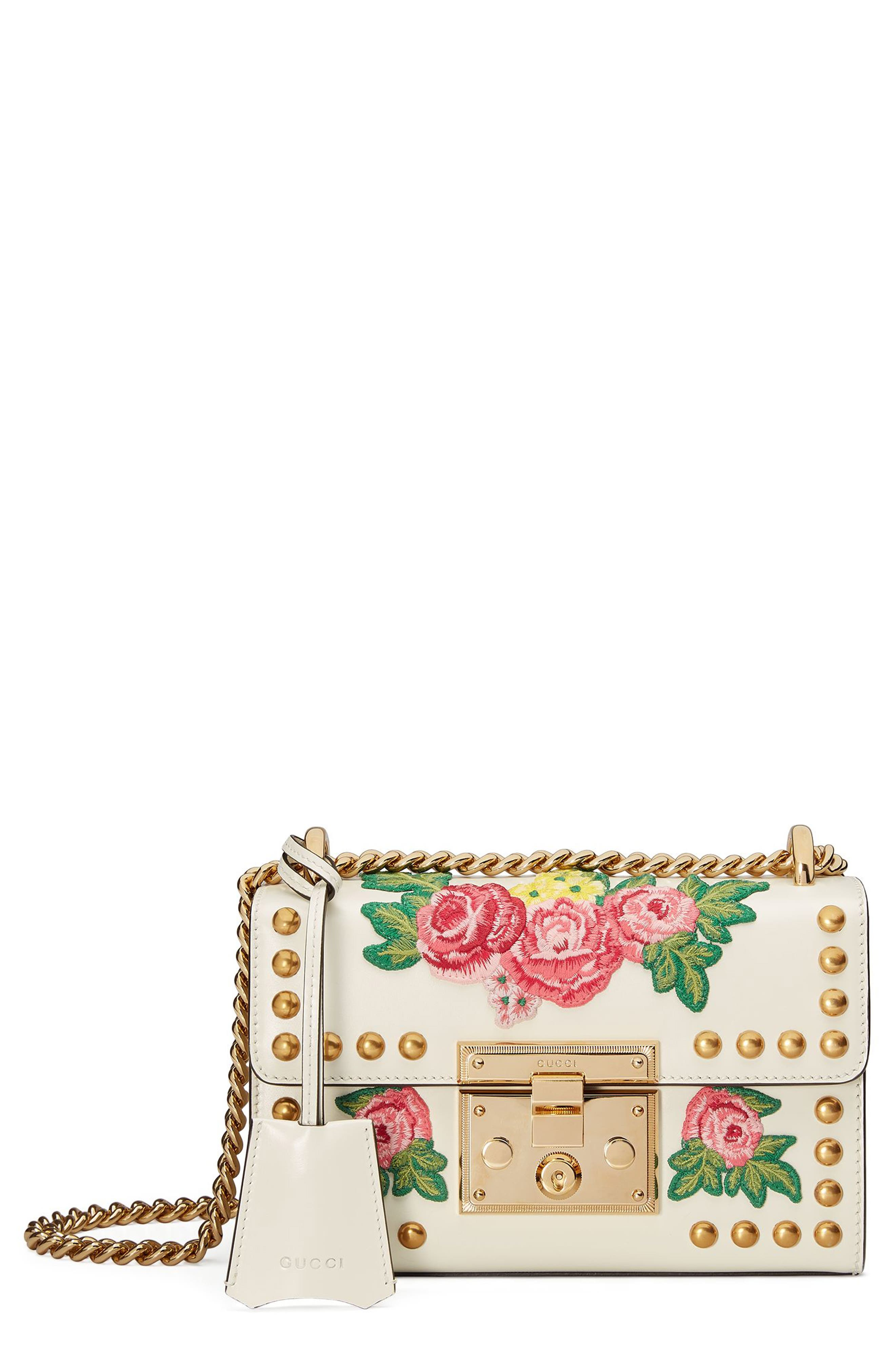 Main Image - Gucci Small Padlock Embroidered Leather Shoulder Bag