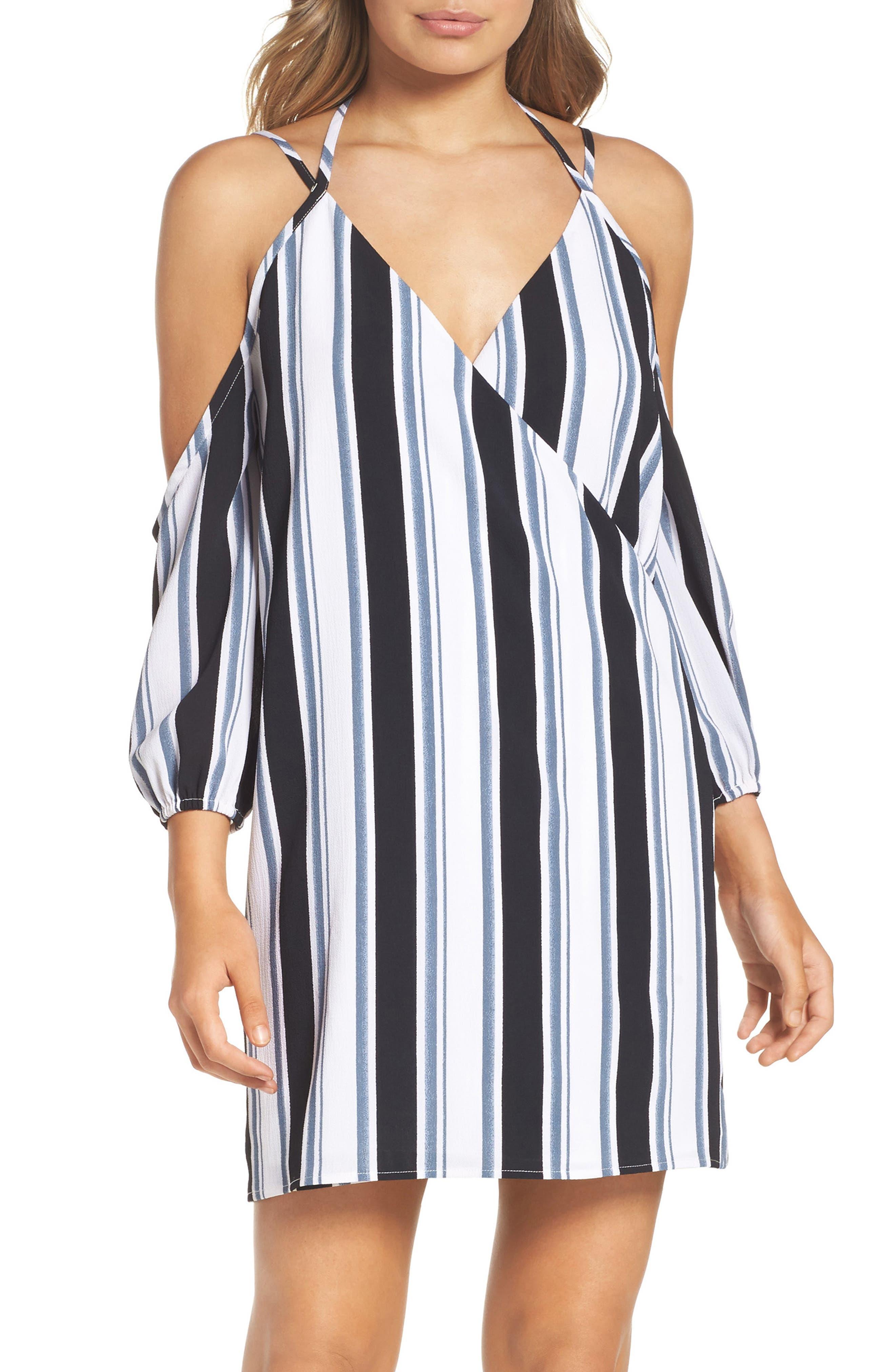 La Ciudad Dress,                         Main,                         color, Black/ Grey Stripe