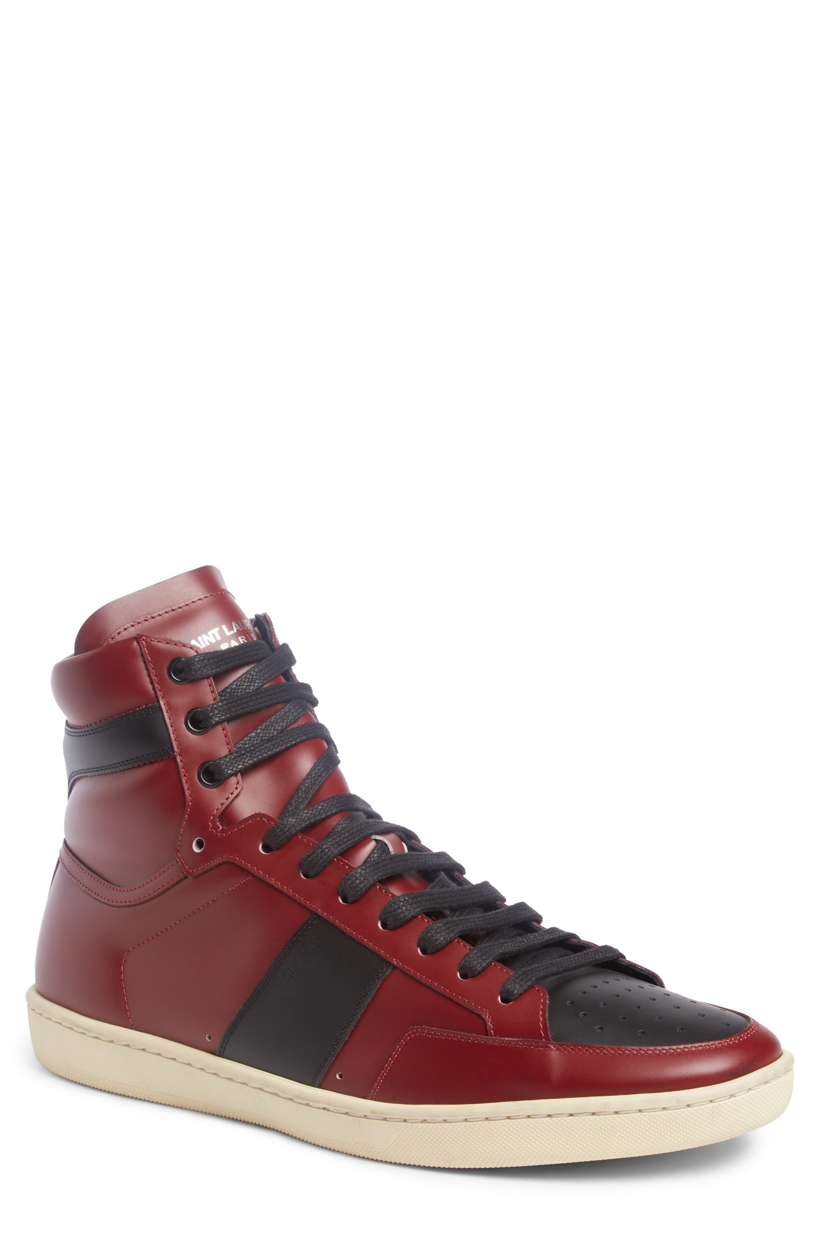 SL/10H Signature Court Classic High-Top Sneaker,                             Main thumbnail 1, color,                             Dp Red/ Blk Leather