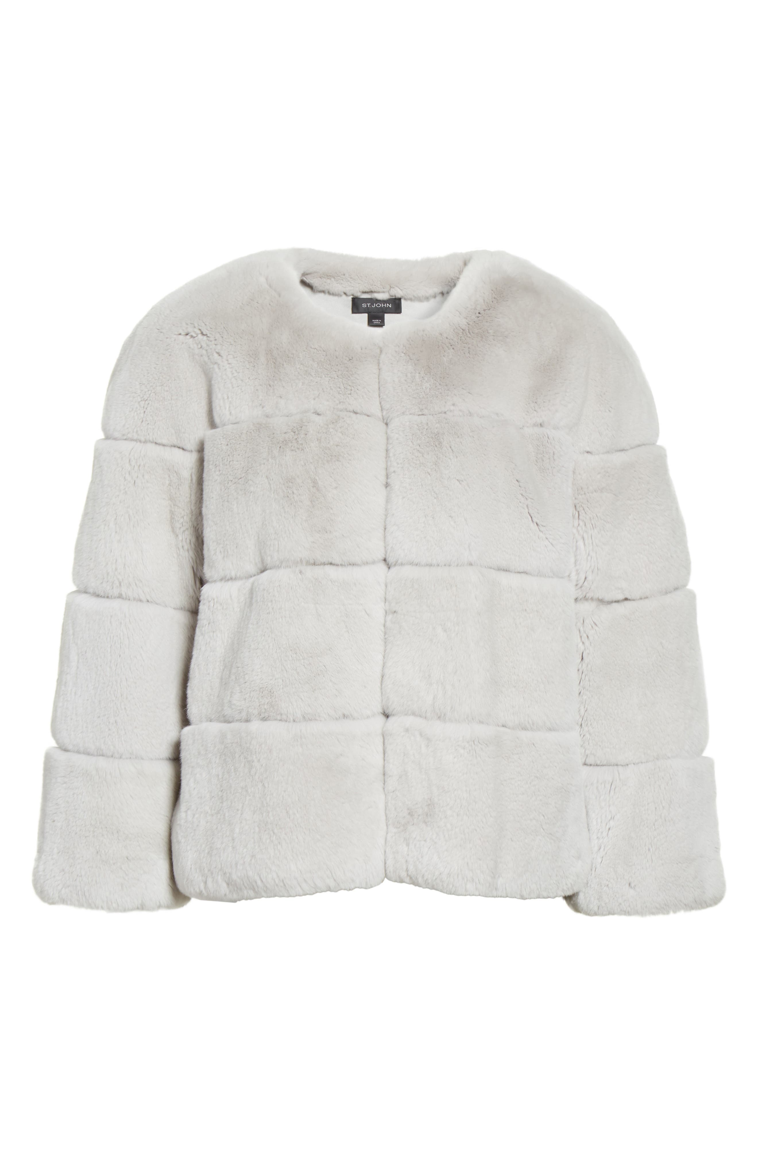 Genuine Rex Rabbit Fur Jacket,                             Alternate thumbnail 7, color,                             Light Grey