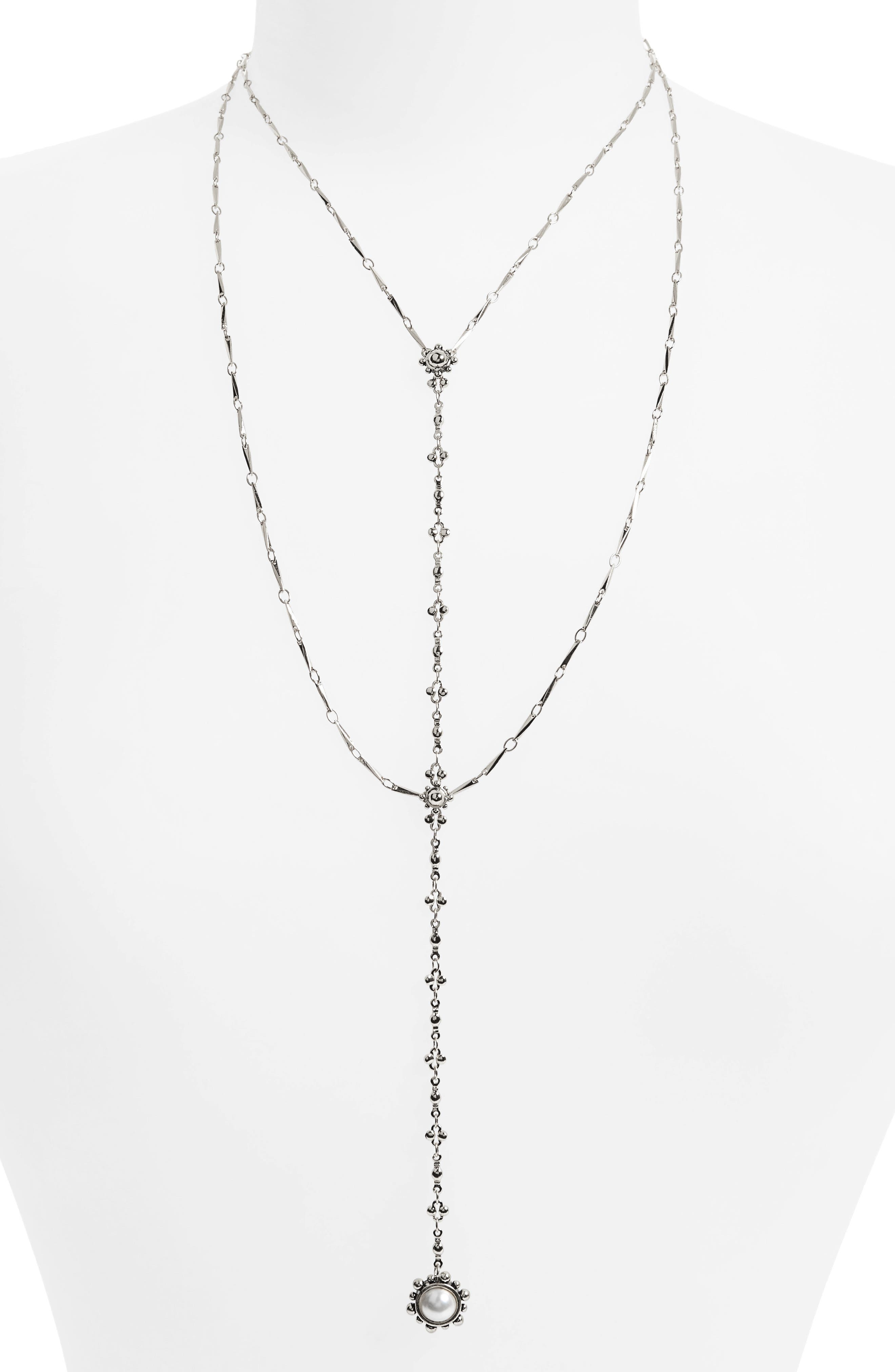 Lariat Necklace,                         Main,                         color, Silver