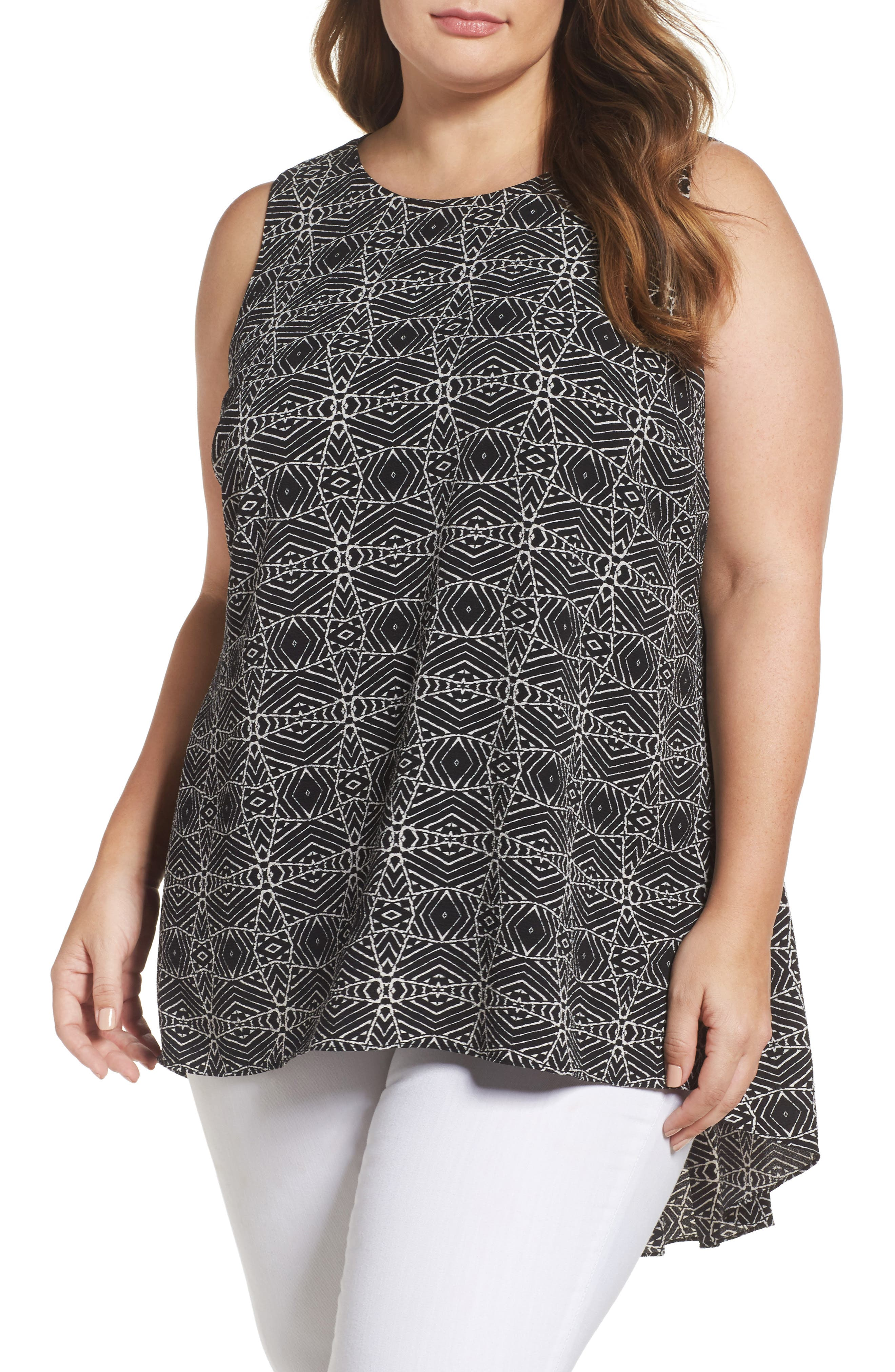Main Image - Vince Camuto Yoruba Graphic High/Low Top (Plus Size)