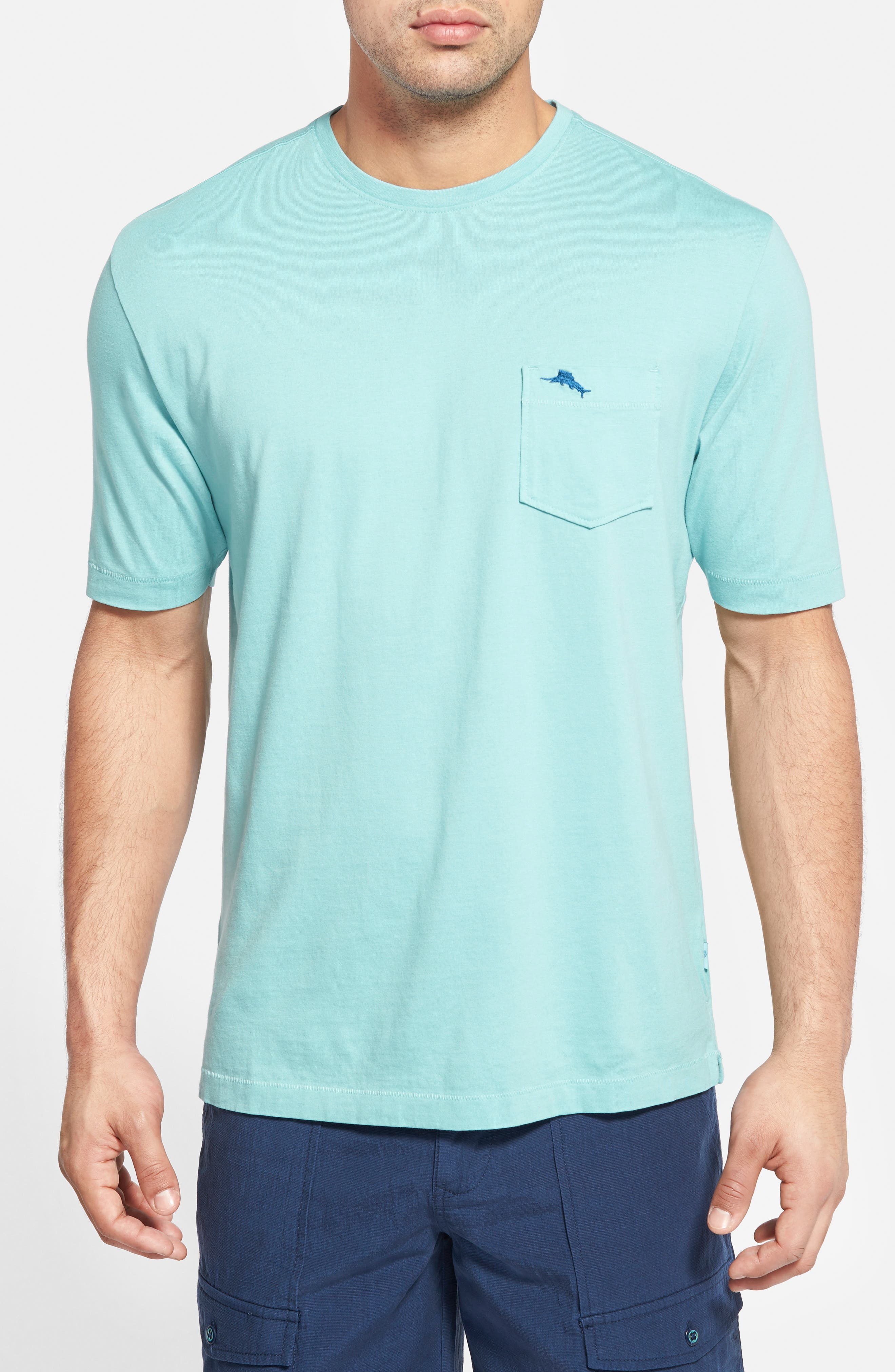 'New Bali Sky' Original Fit Crewneck Pocket T-Shirt,                             Main thumbnail 1, color,                             Oceanfront