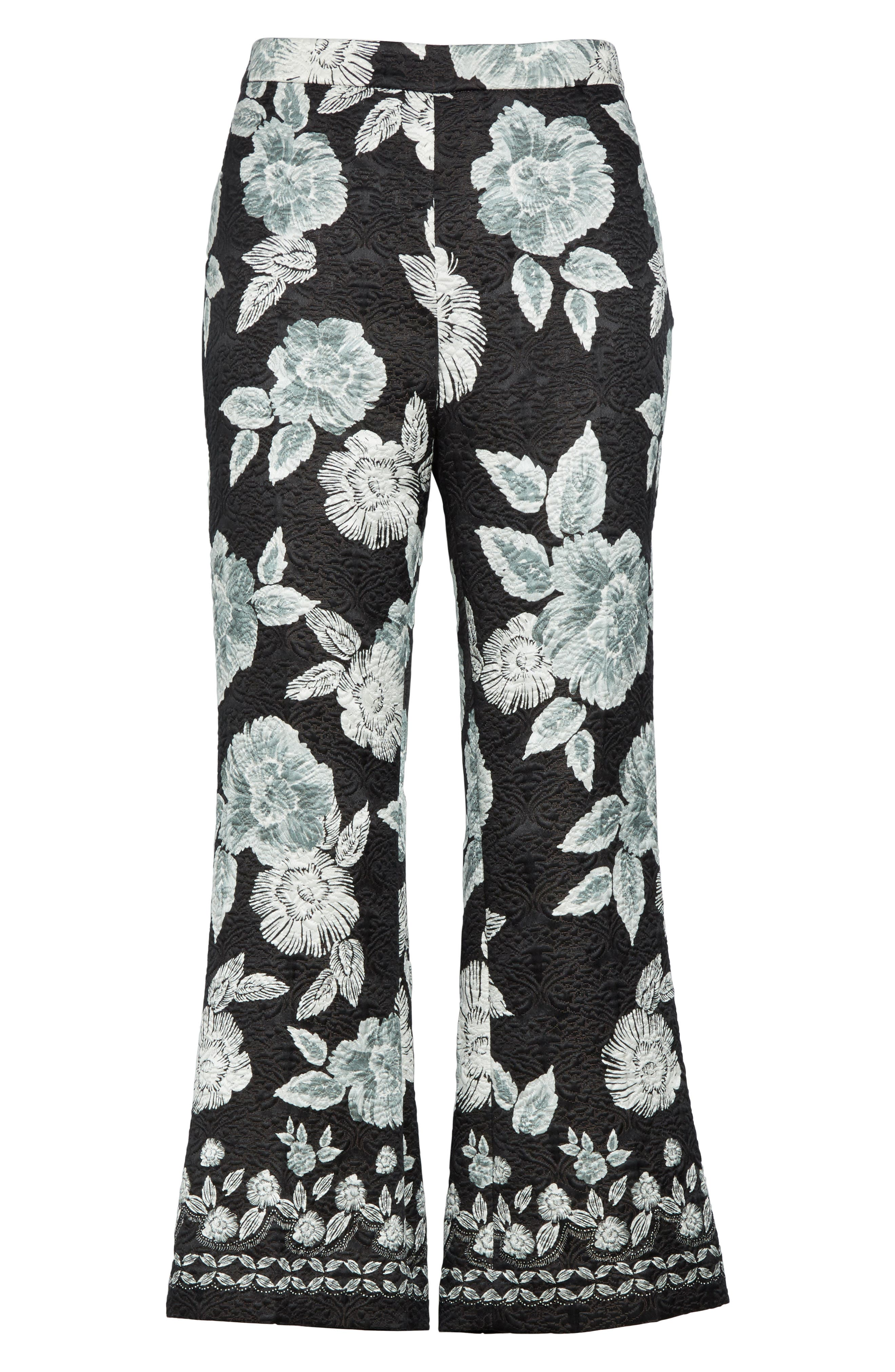 Textured Floral Print Capri Pants,                             Alternate thumbnail 7, color,                             Caviar Multi