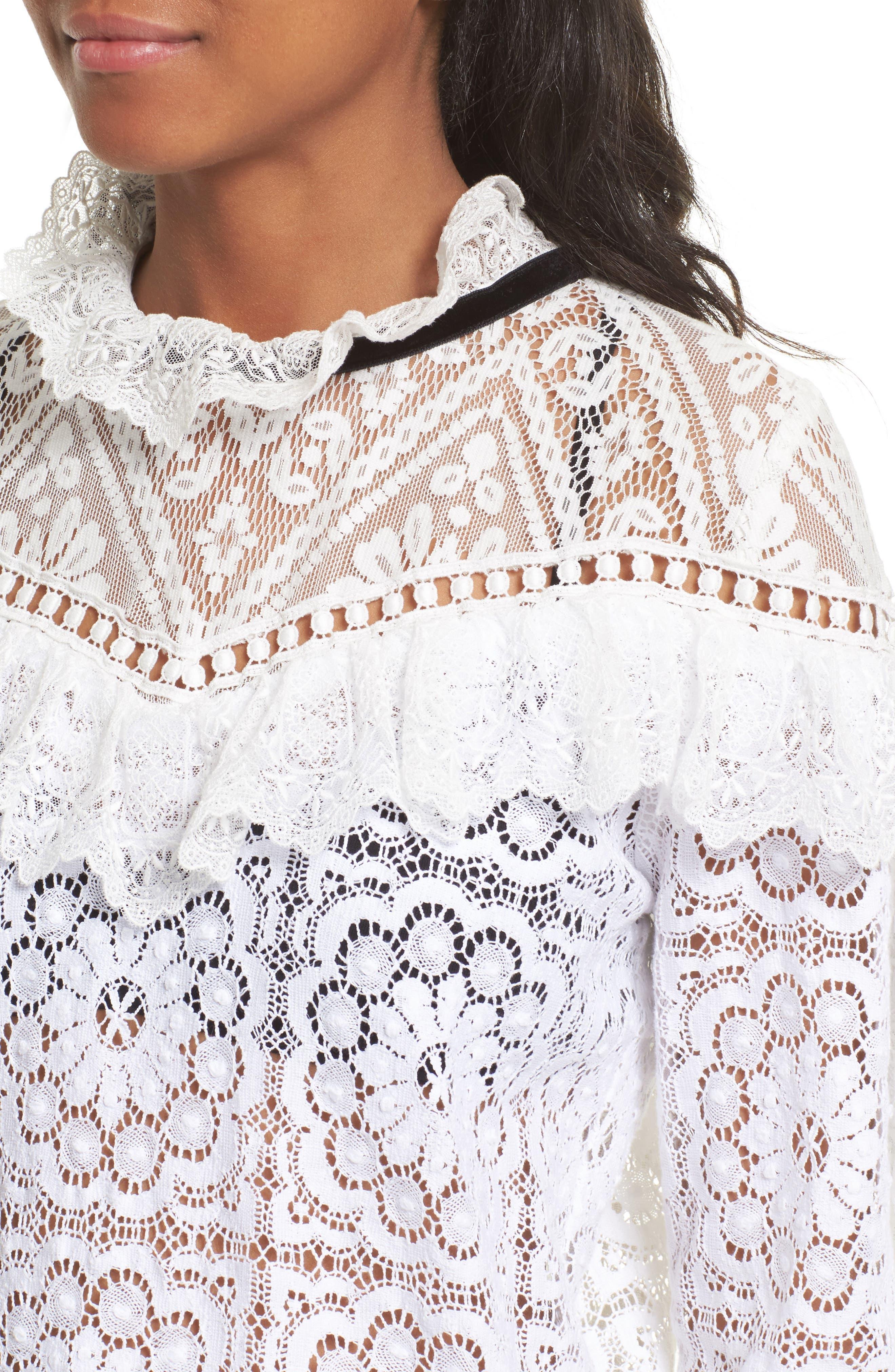 Alternate Image 4  - Sea Ruffle Lace Sweatshirt