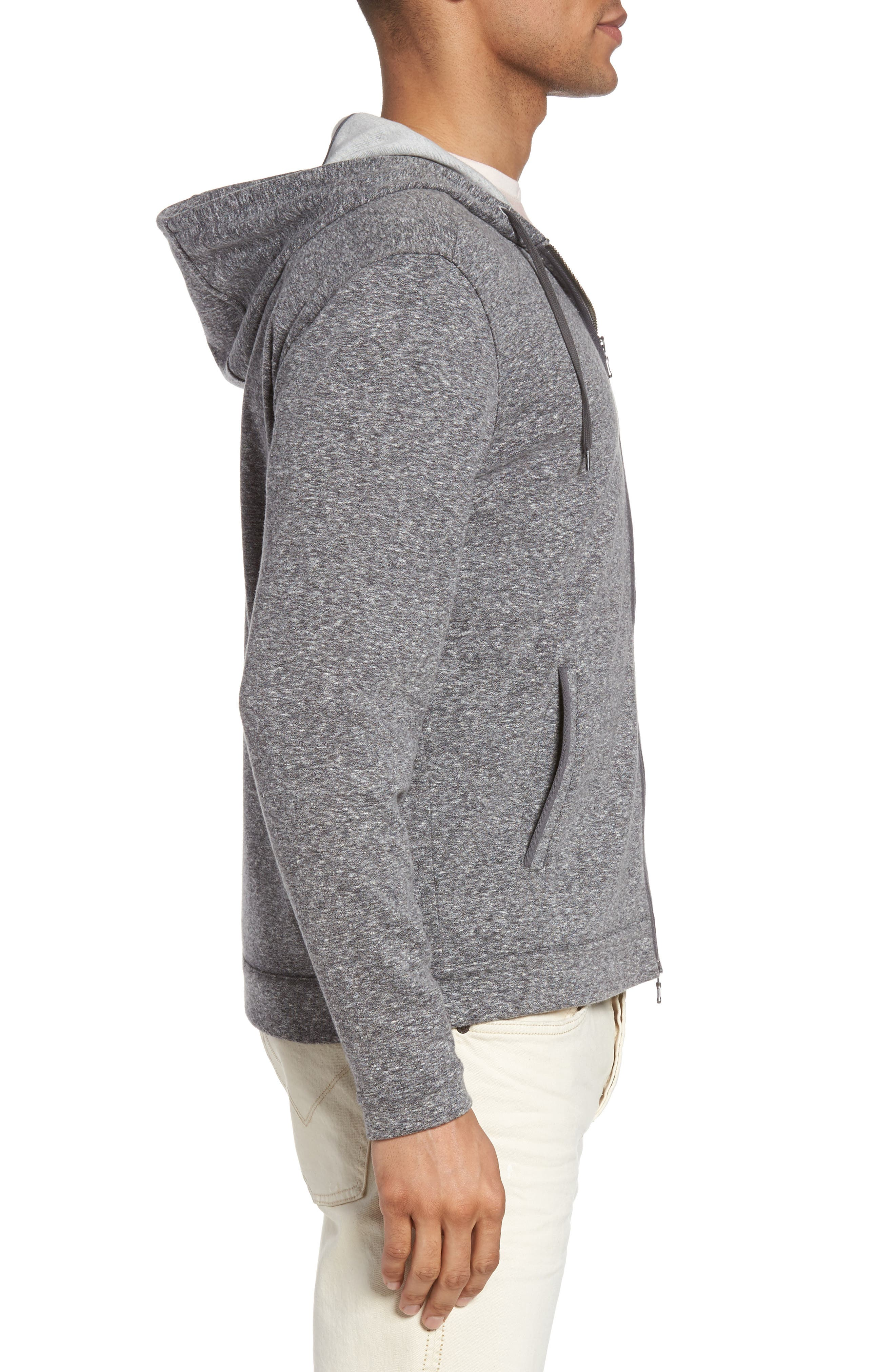 Zip Front Hoodie,                             Alternate thumbnail 3, color,                             Medium Grey