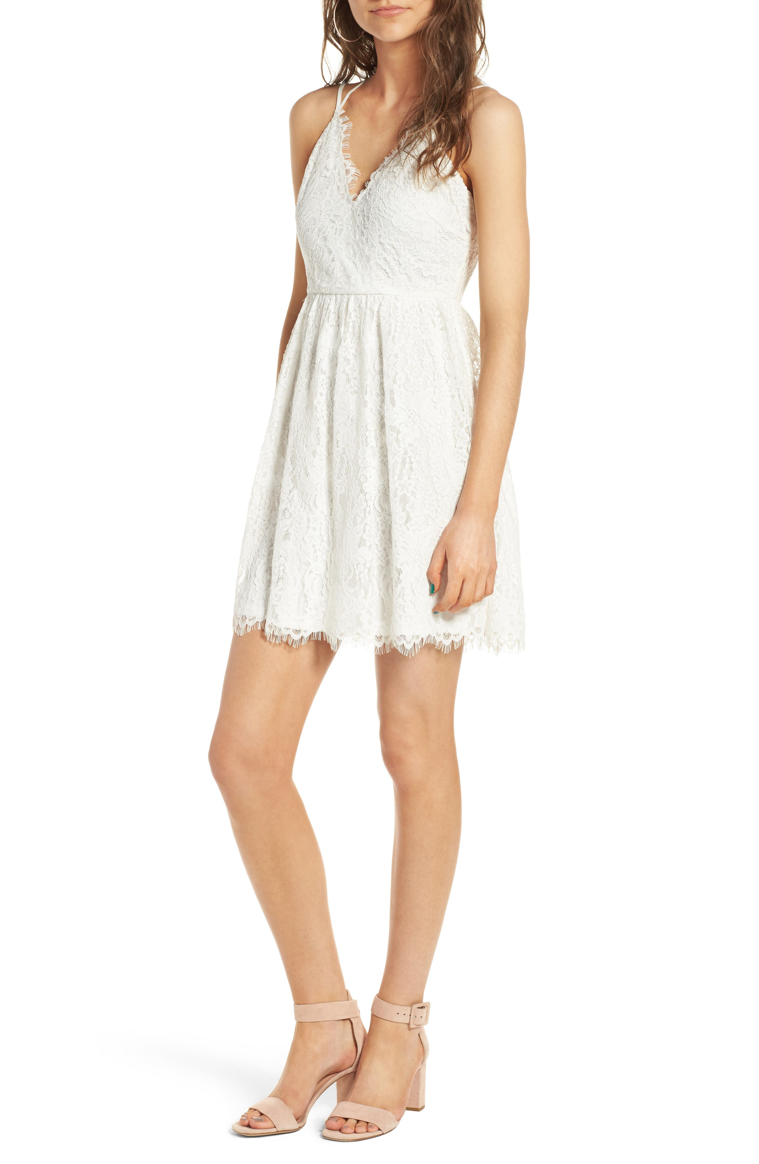 Lace Skater Dress,                         Main,                         color, Ivory