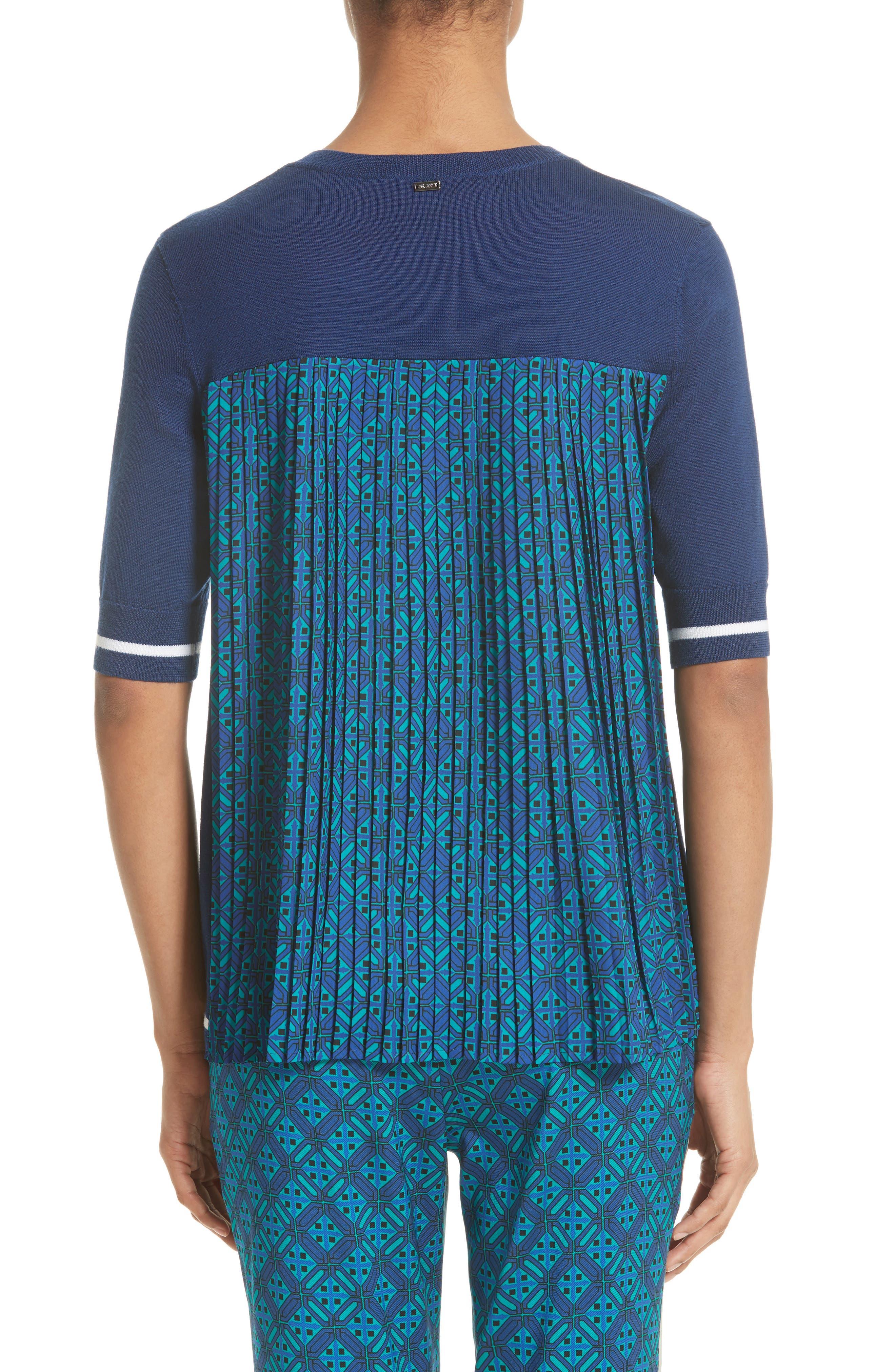 Sarita Tile Print Jersey Knit Sweater,                             Alternate thumbnail 2, color,                             Azurite Multi