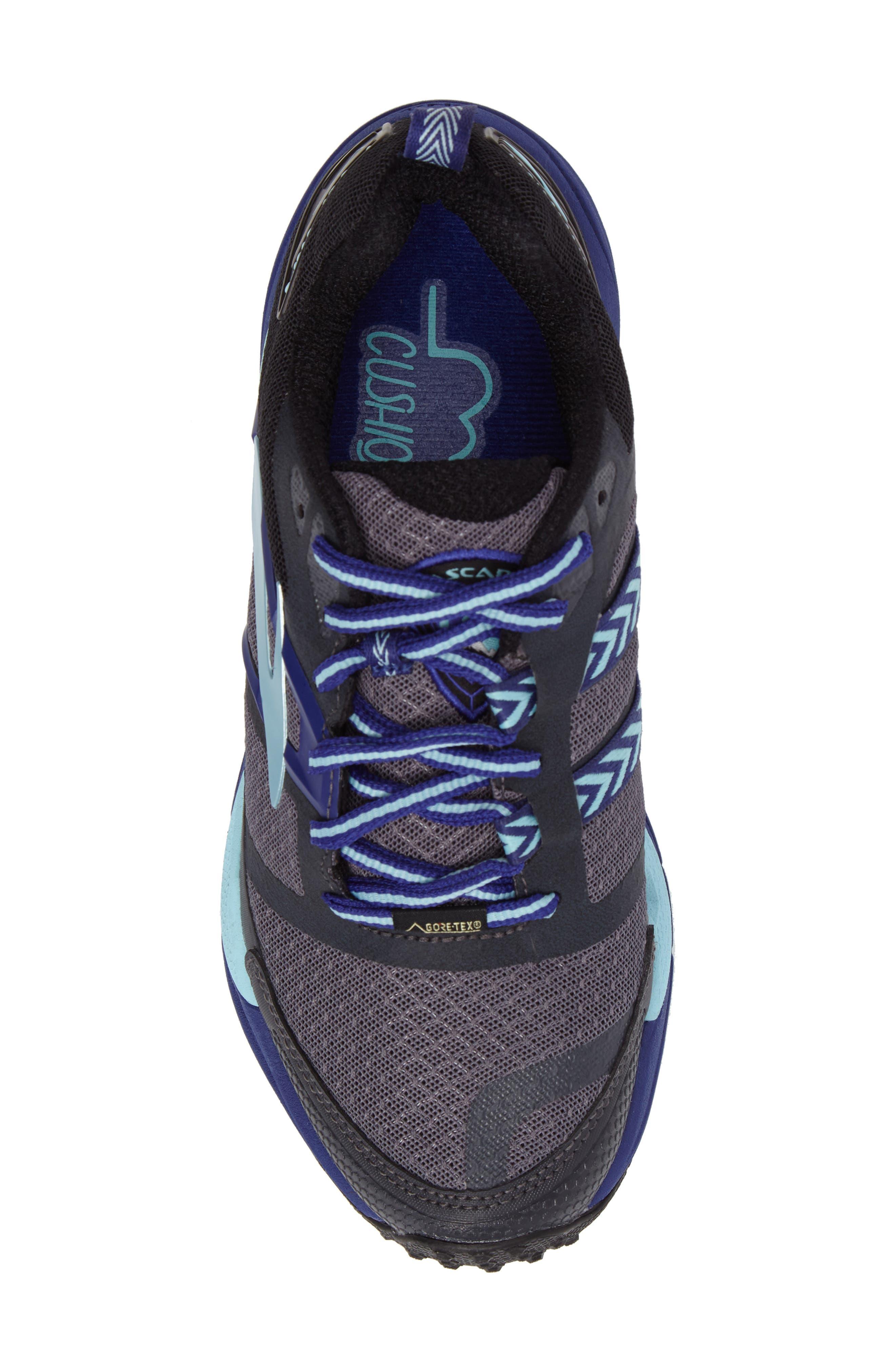 Cascadia 12 GTX Trail Running Shoe,                             Alternate thumbnail 5, color,                             Black/ Ebony/ Clematis Blue