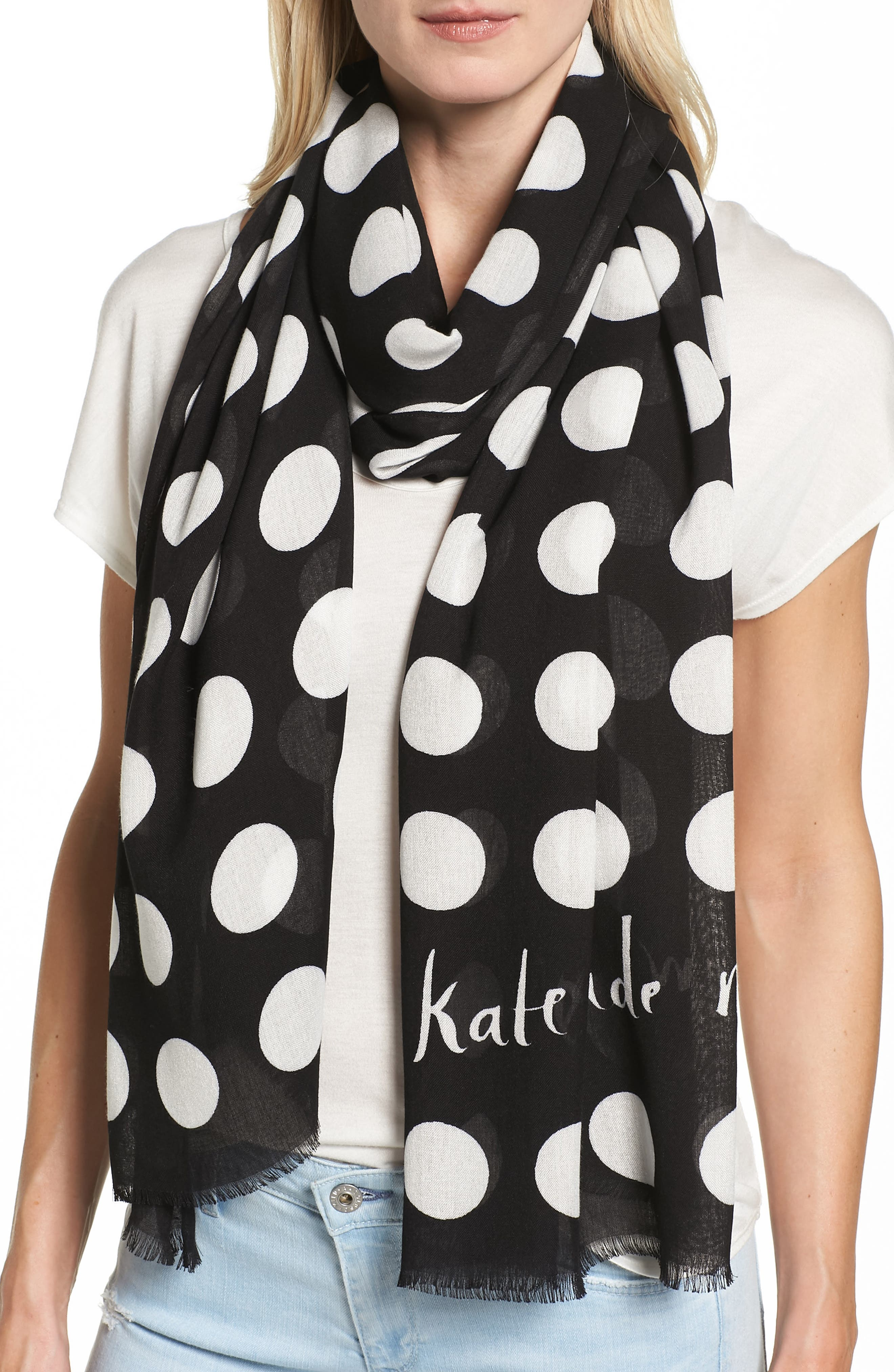 kate spade new york grid dot scarf