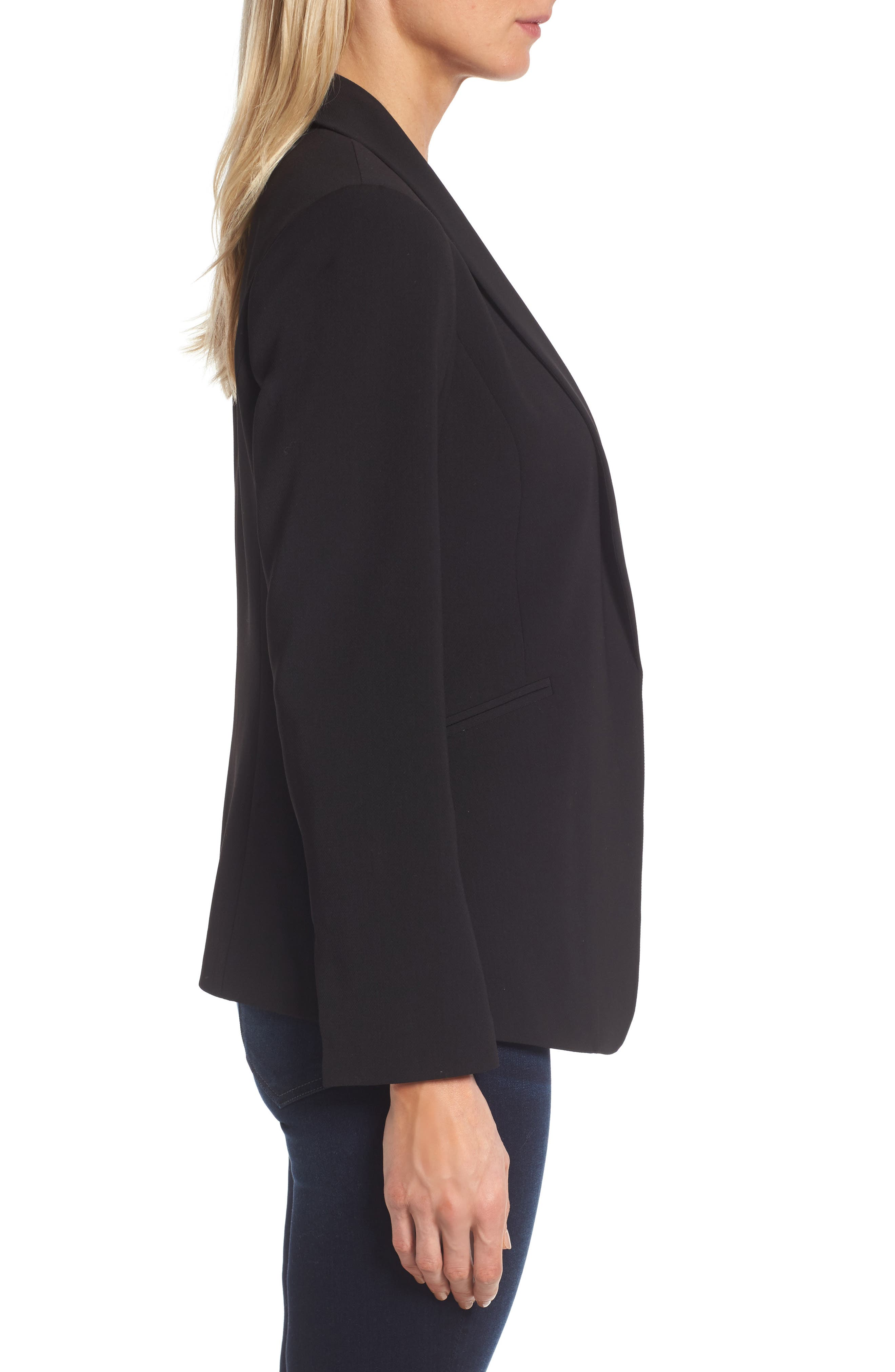Texture Base Blazer,                             Alternate thumbnail 3, color,                             Rich Black