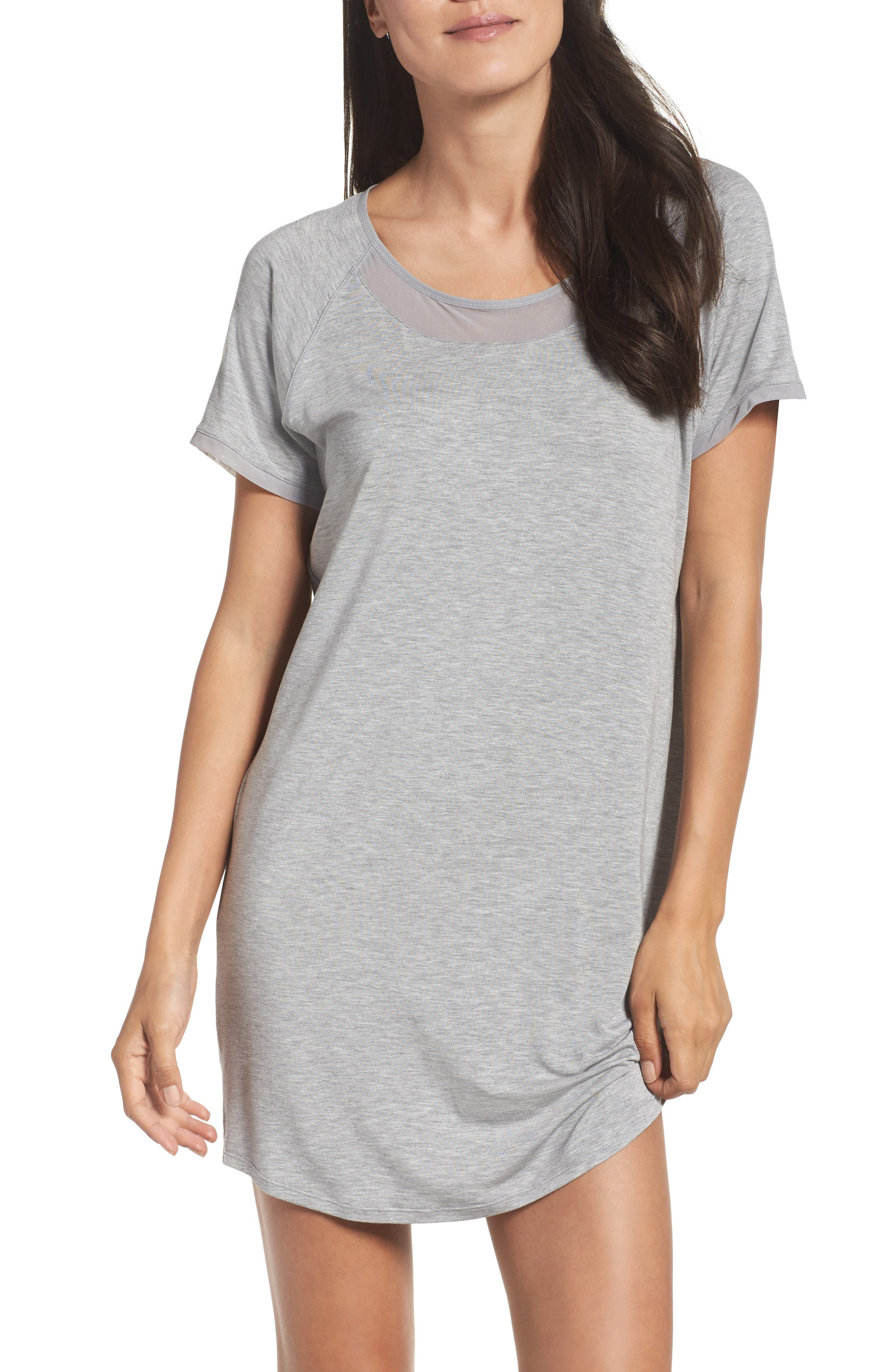 Sleep Shirt,                         Main,                         color, Light Grey Heather