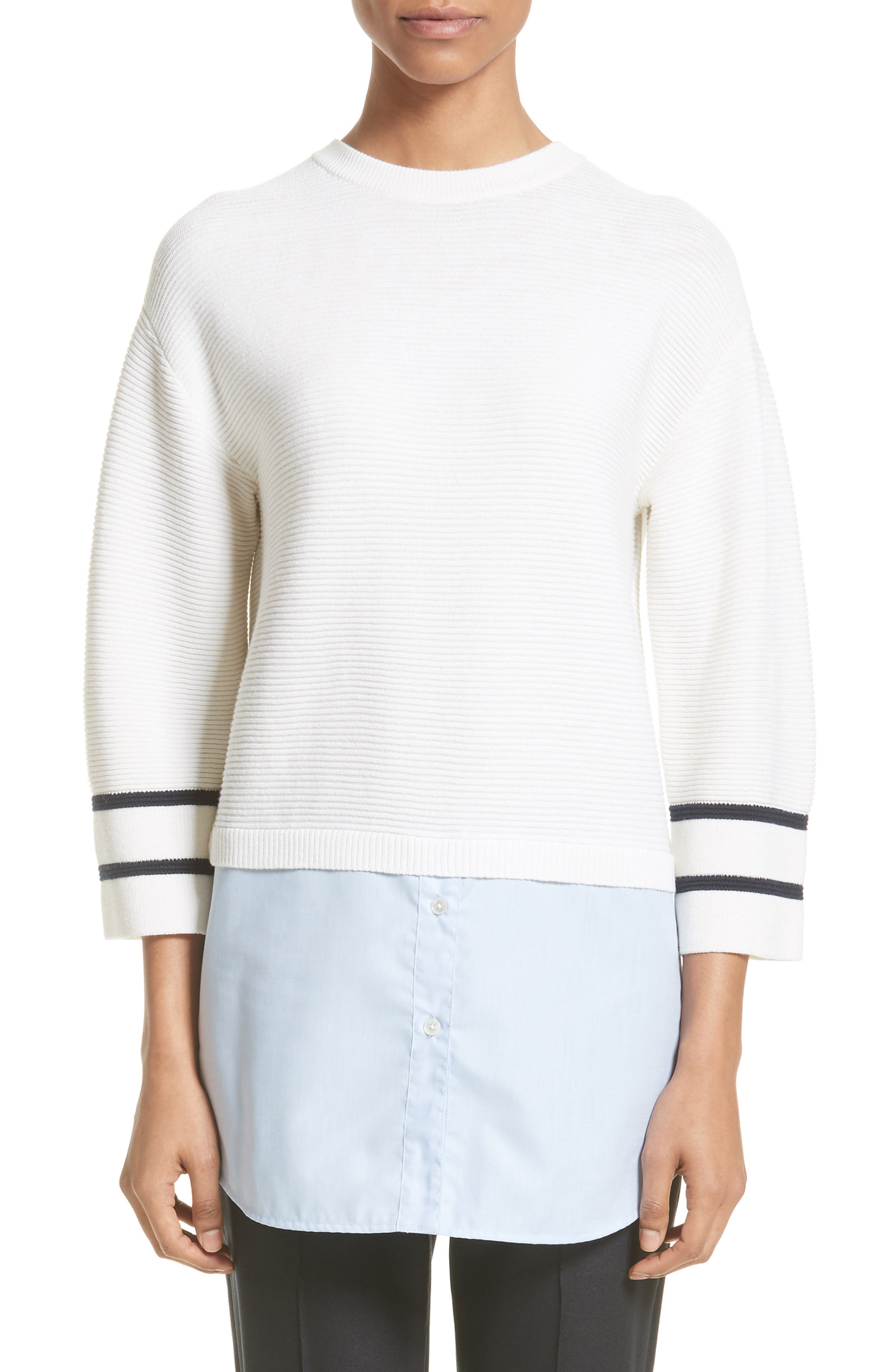 Link Stitch Sweater,                         Main,                         color, Cream/ Navy