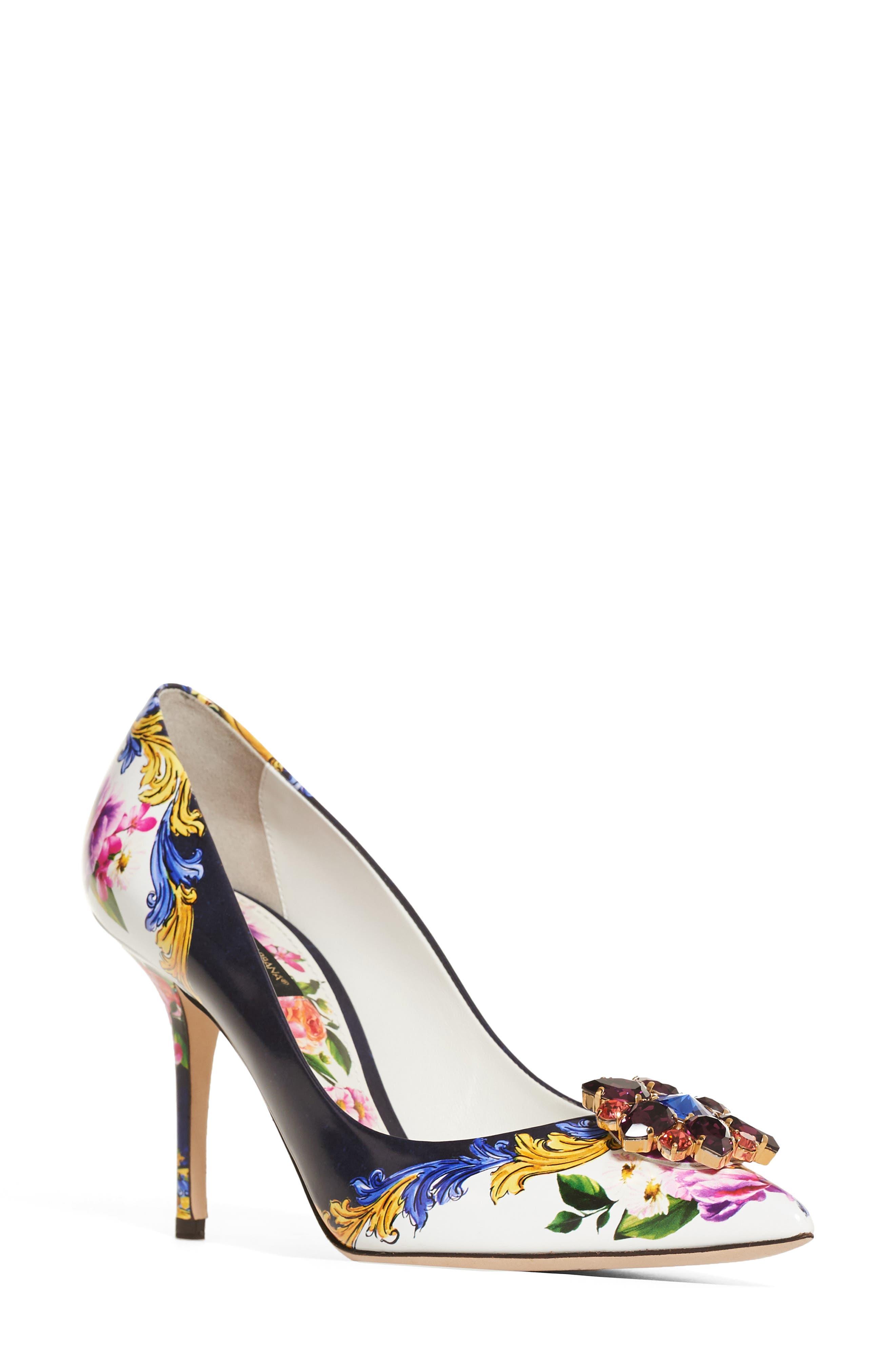 Dolce & Gabbana Print Pump,                             Main thumbnail 1, color,                             Navy/ White Floral