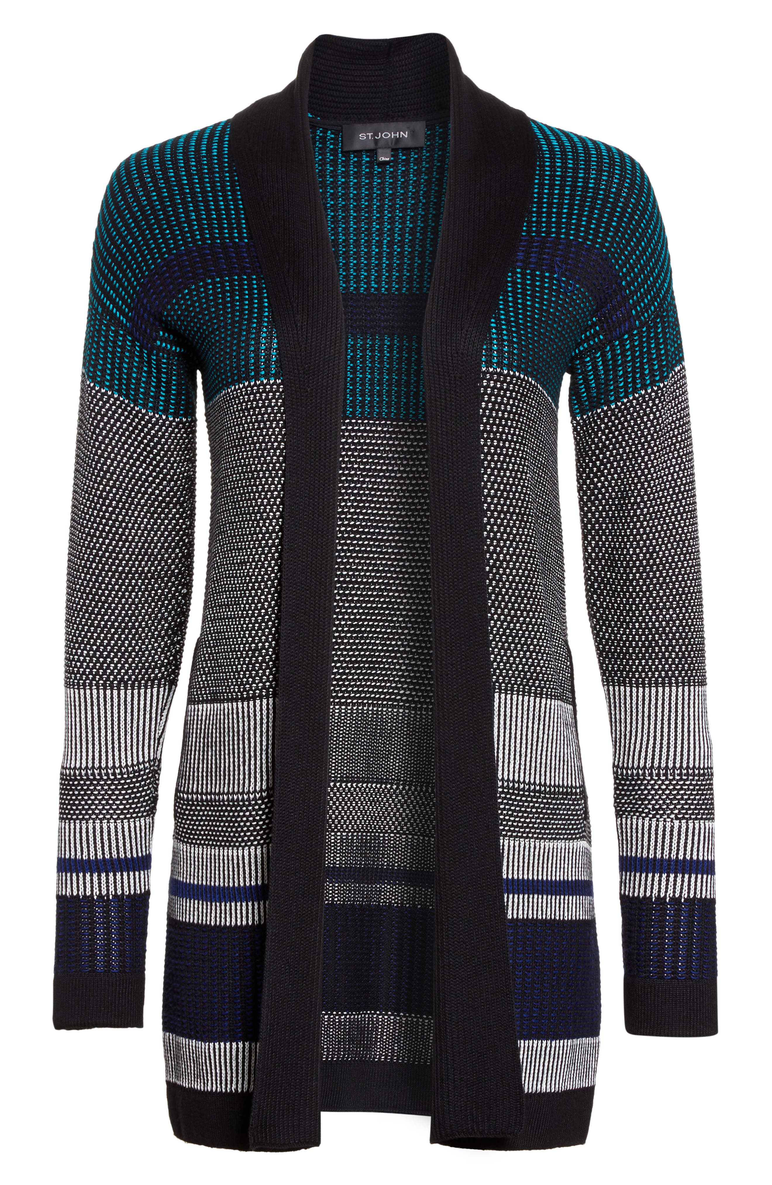 Alternate Image 6  - St. John Collection Engineered Inlay Stitch Knit Cardigan