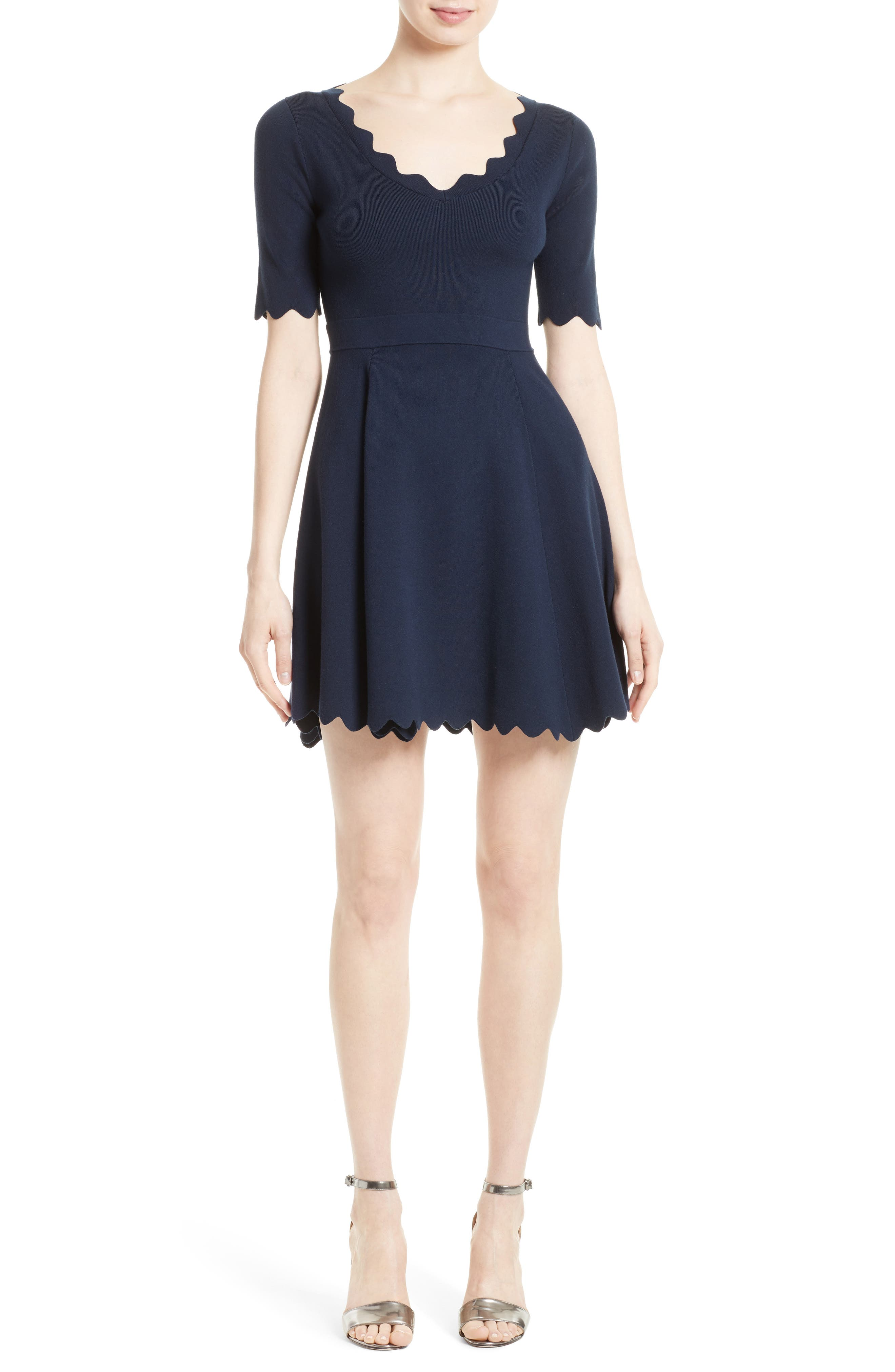 Fit & Flare Knit Dress,                         Main,                         color, Navy