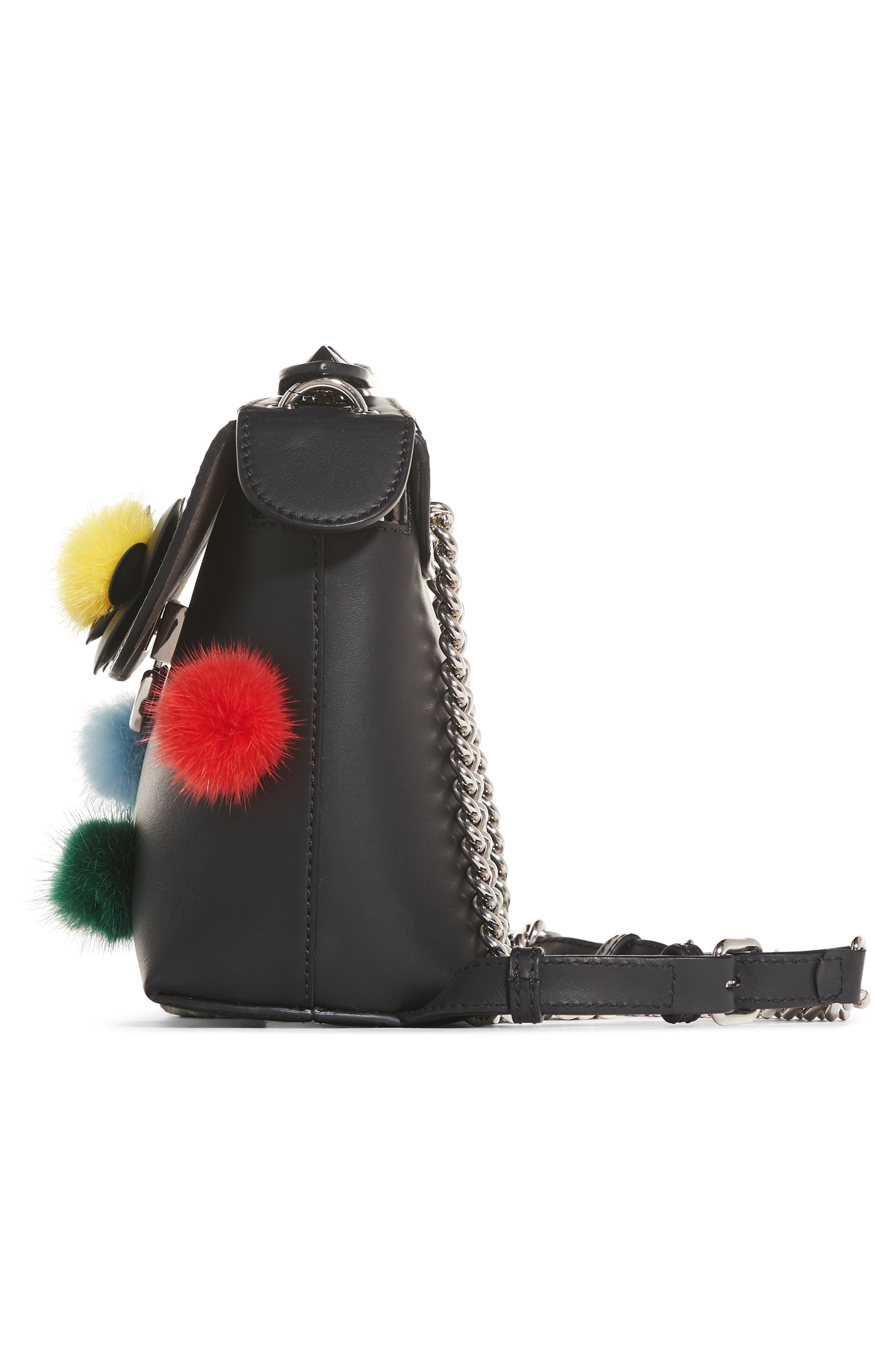 Mini Back to School Genuine Mink Fur Pompom Leather Shoulder Bag,                             Alternate thumbnail 6, color,                             Black Multi