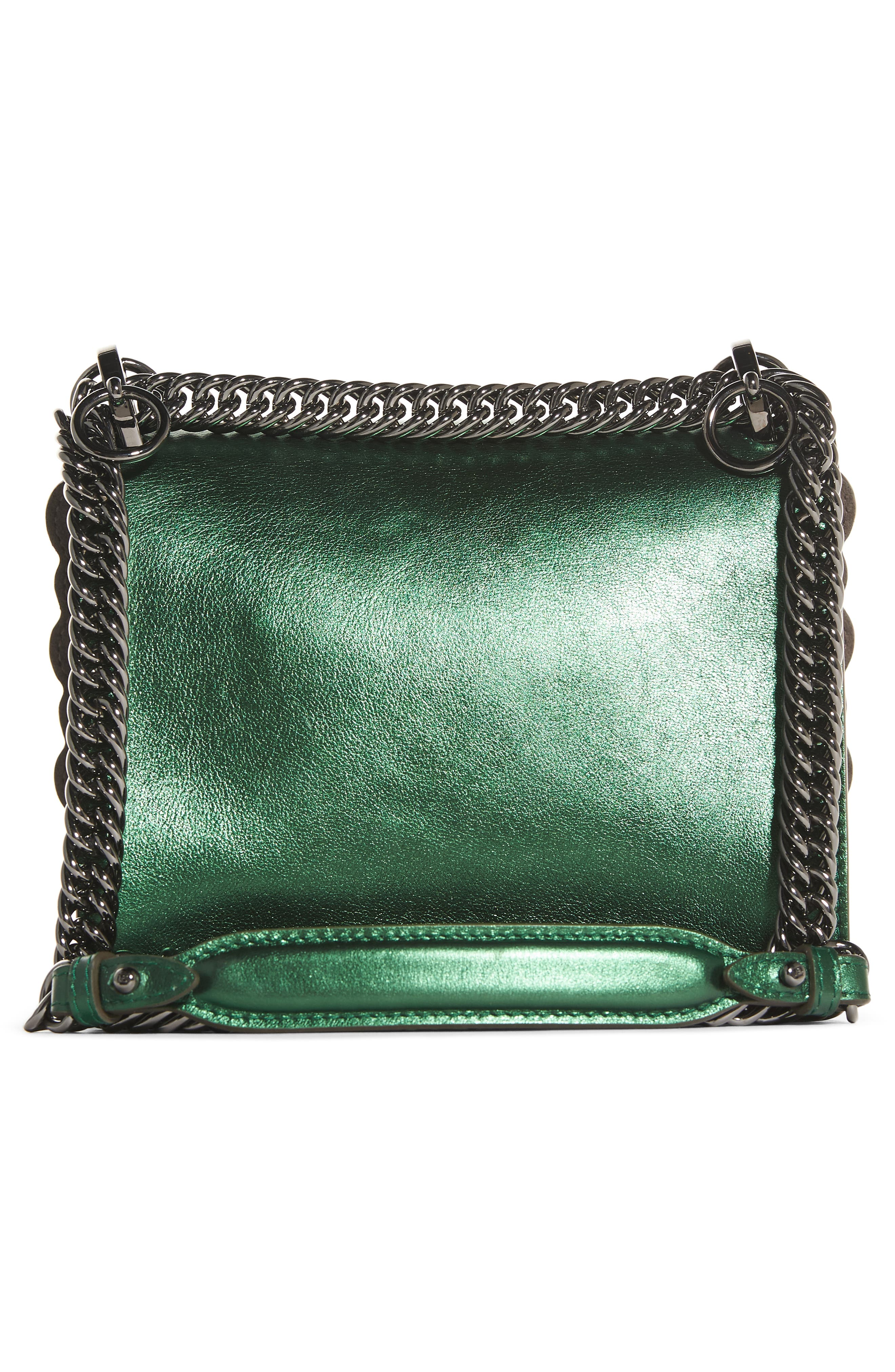 Small Kan I Metallic Leather Shoulder Bag,                             Alternate thumbnail 2, color,                             Green Metallic