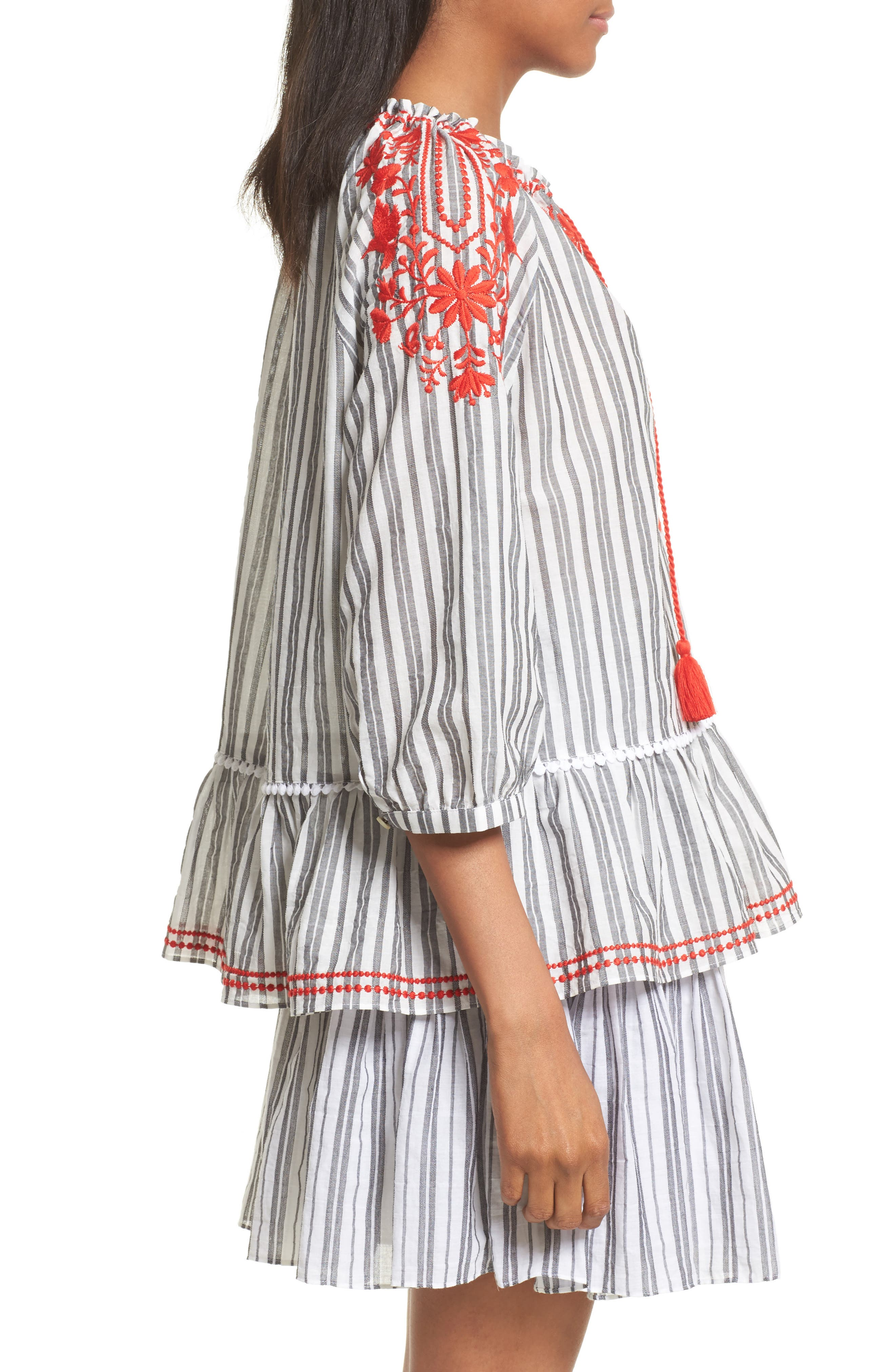 Alternate Image 4  - kate spade new york embroidered peasant top
