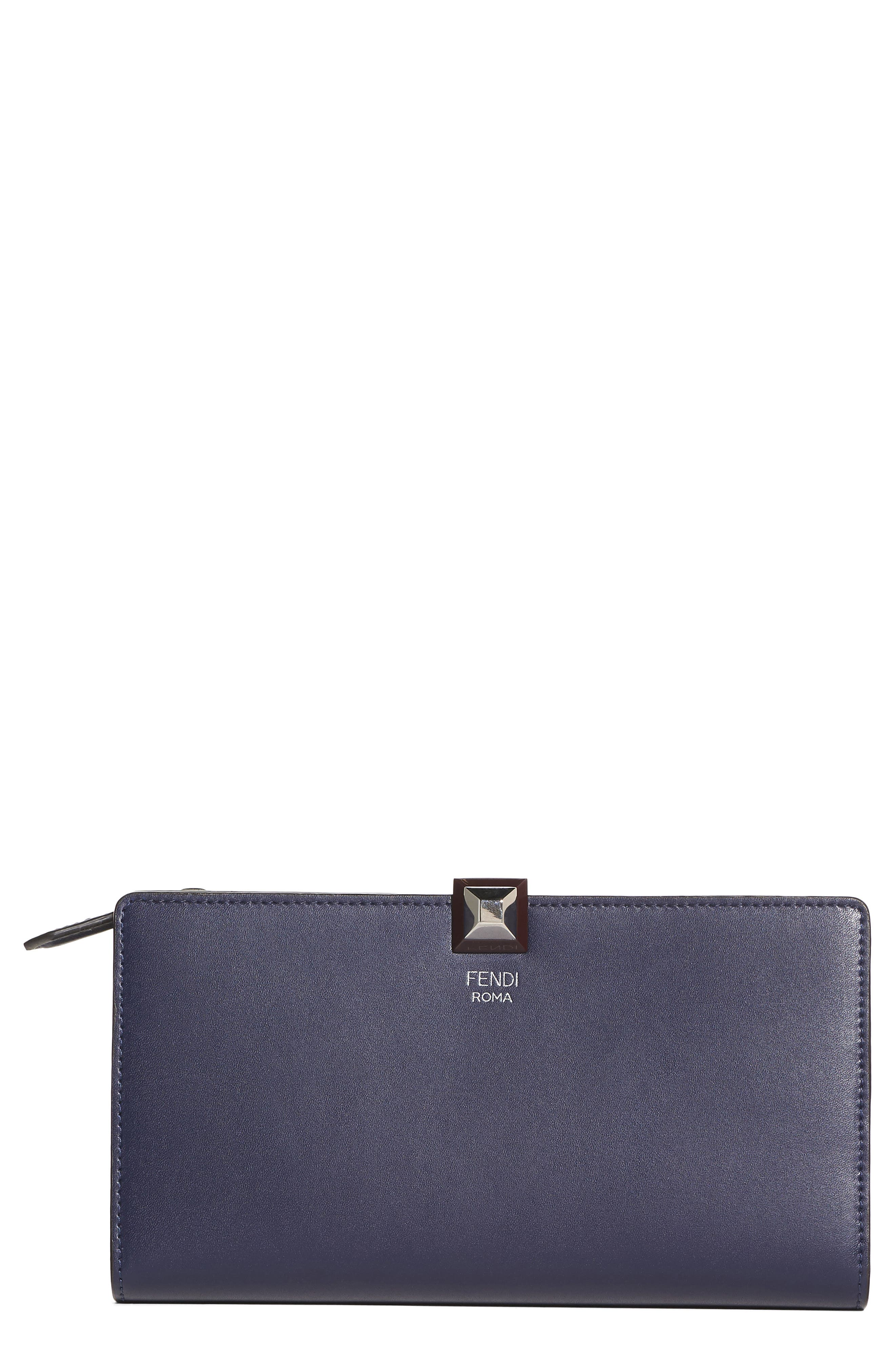 Studded Continental Leather Wallet,                         Main,                         color, Blueberry