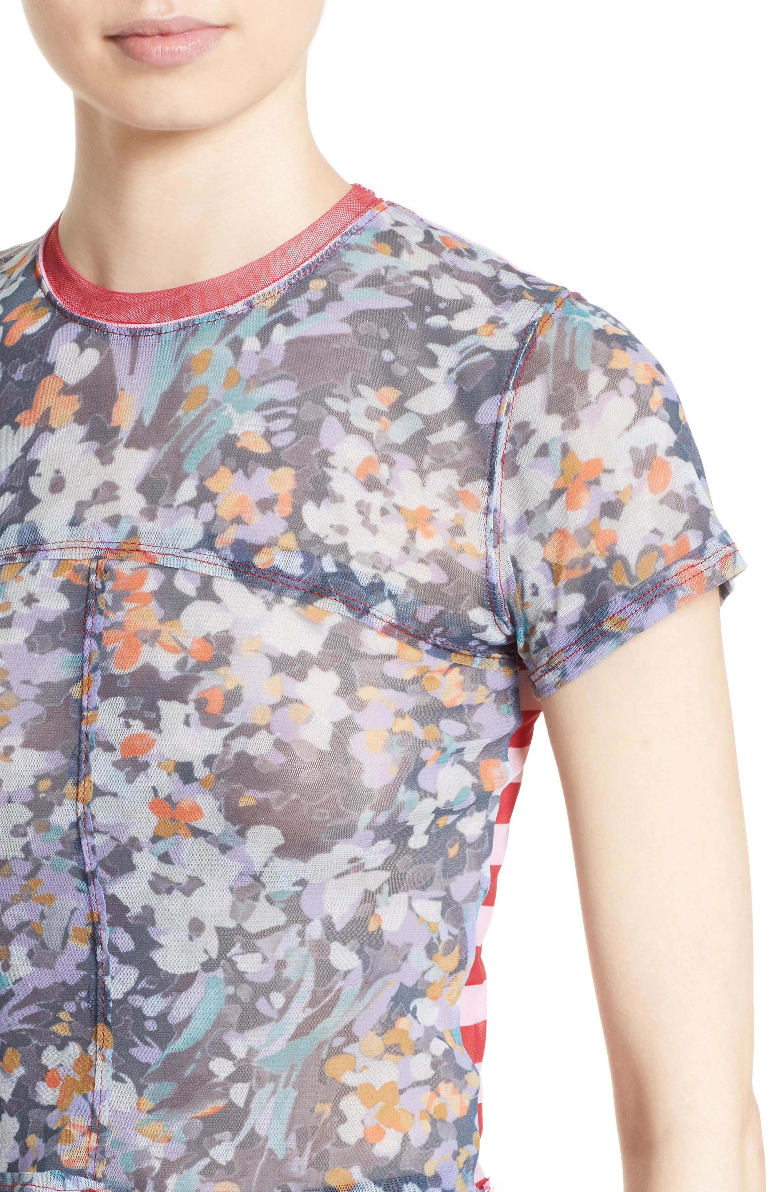 Lapped Baby Tee,                             Alternate thumbnail 6, color,                             Floral Red Mesh