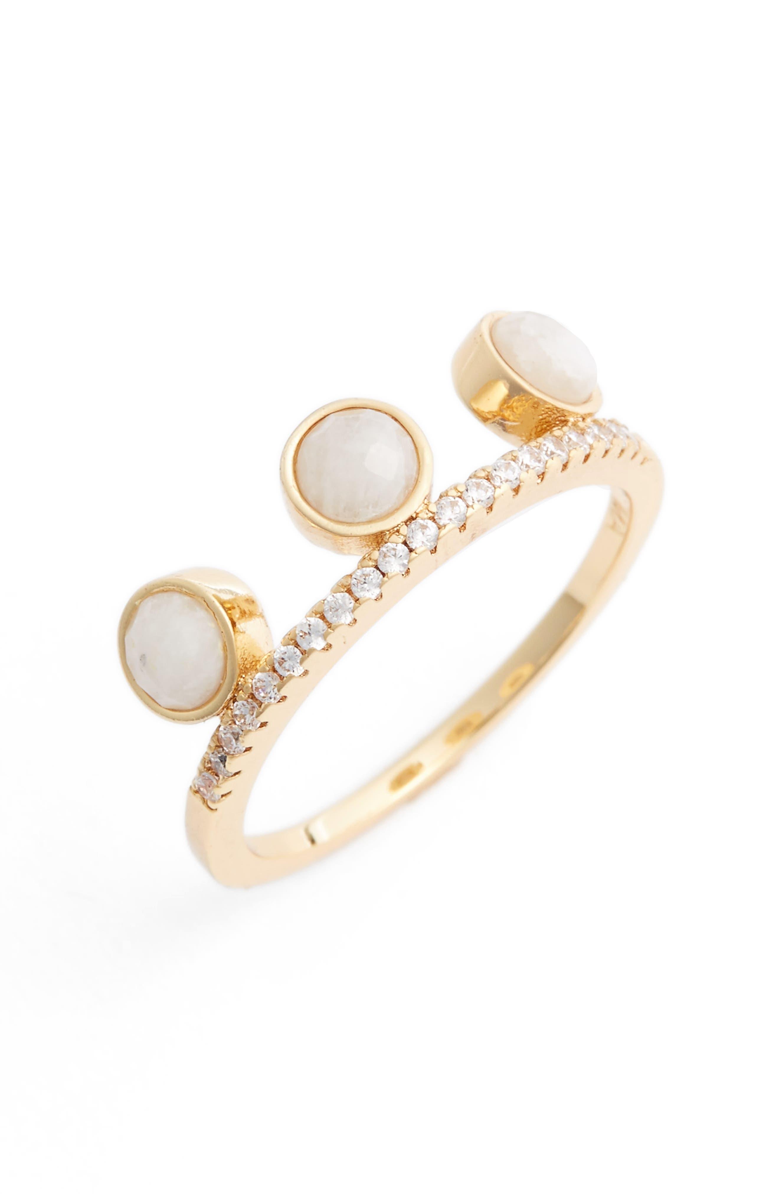 Circle Stacking Ring,                             Main thumbnail 1, color,                             Moonstone / Gold