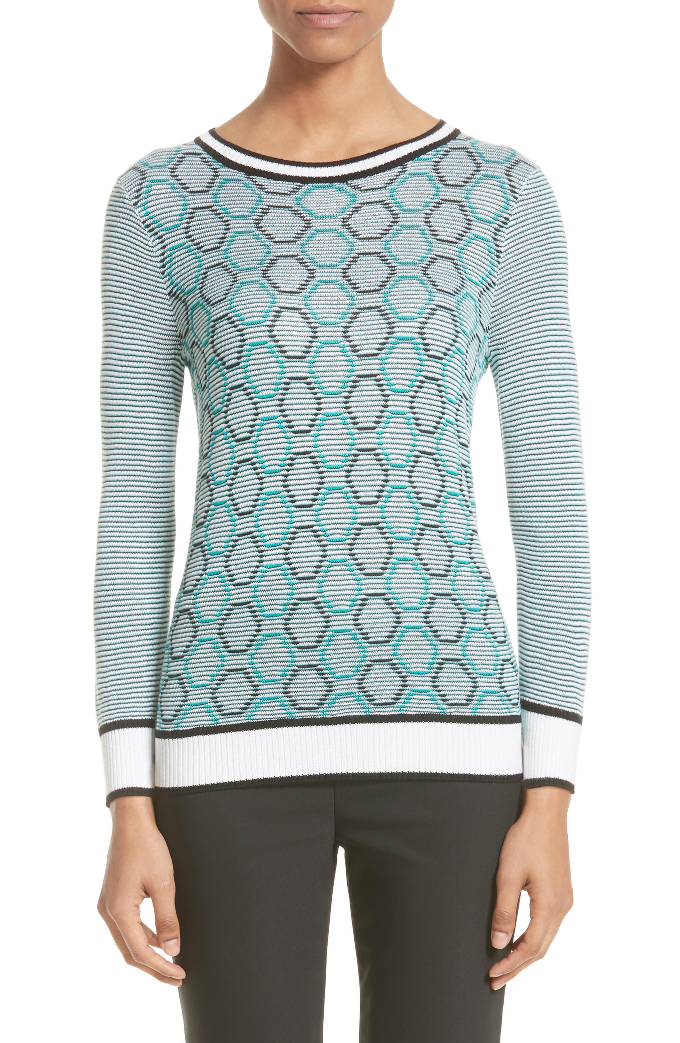 Geo Jacquard Stripe Sweater,                         Main,                         color, Bianco/ Patchouli/ Caviar